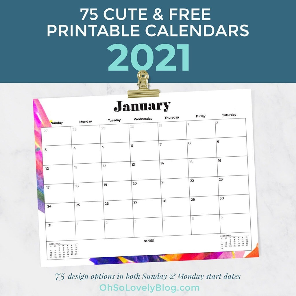 Free 2021 Calendars — 75 Beautiful Designs To Choose From!-2021 Calendar That Shows Only Monday Through Friday