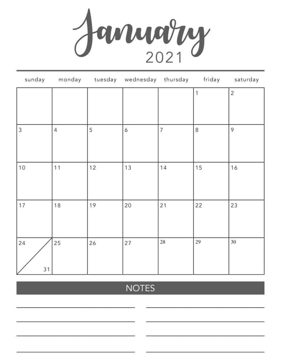 Free 2021 Printable Calendar Template (2 Colors!) - I Heart-Free Monthly Calendar Printable 2021