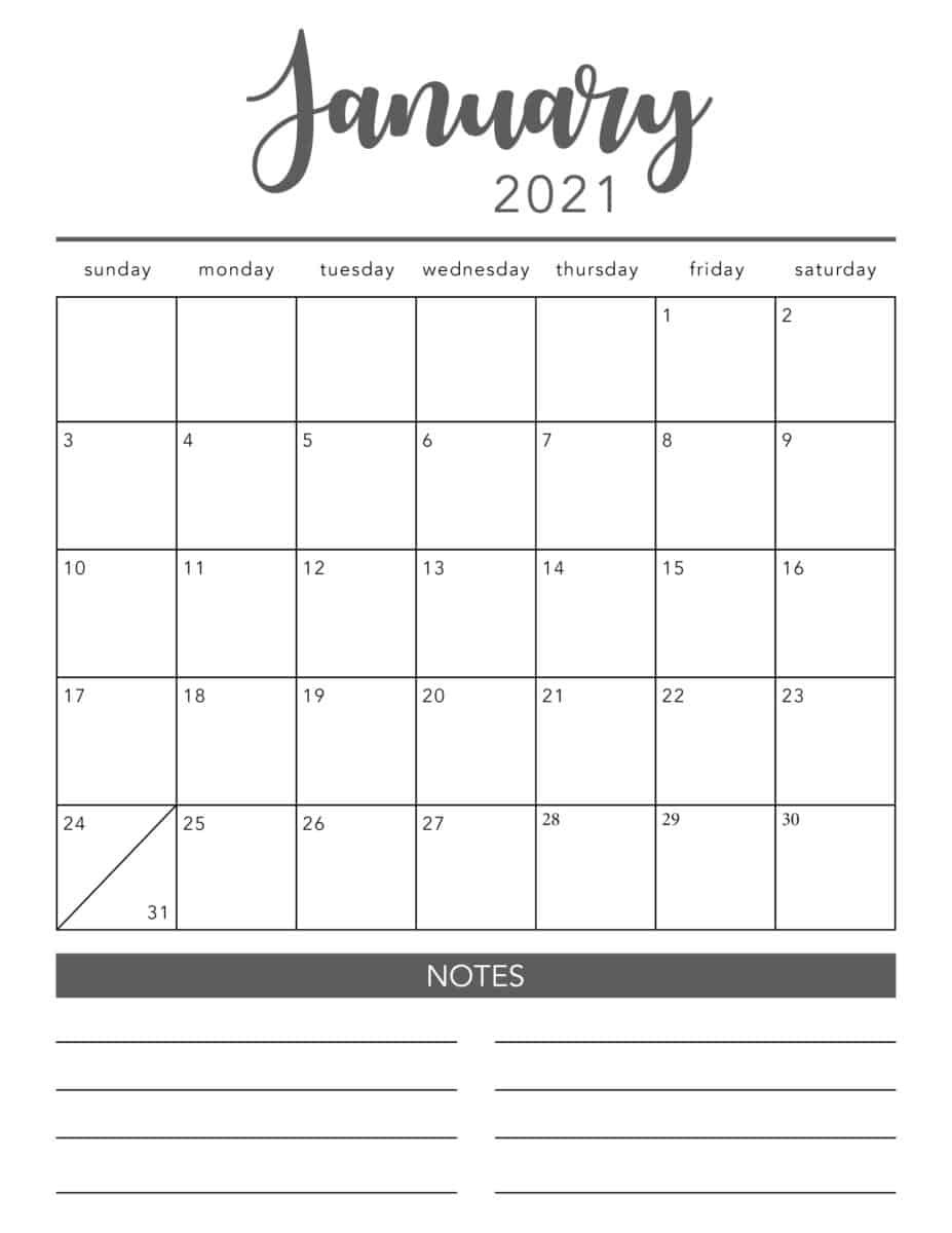 Free 2021 Printable Calendar Template (2 Colors!) - I Heart-Printable Calendar 2021