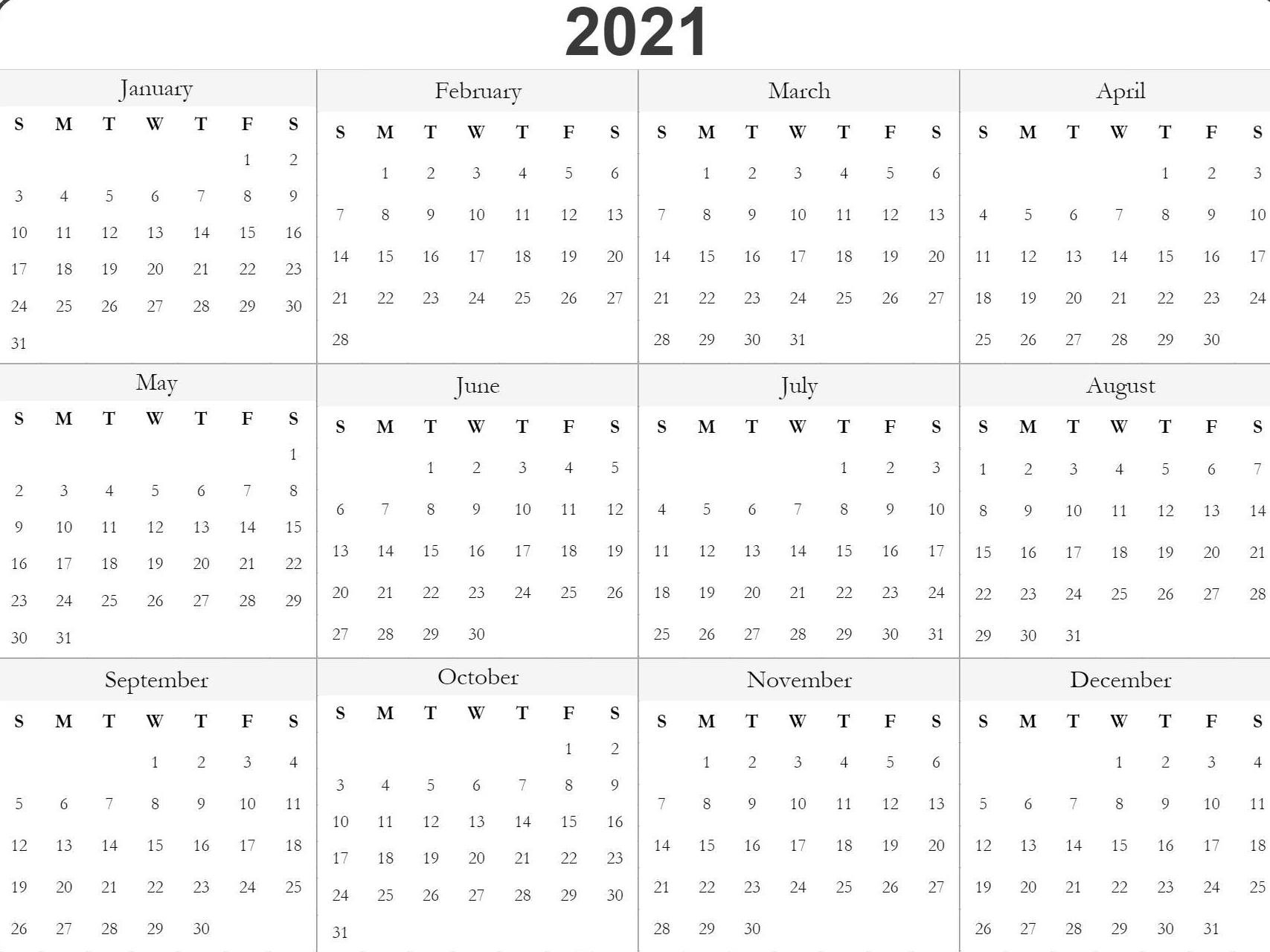 Free 2021 Printable Monthly Calendar With Holidays Word Pdf-2021 Monthly Calendar Template Word
