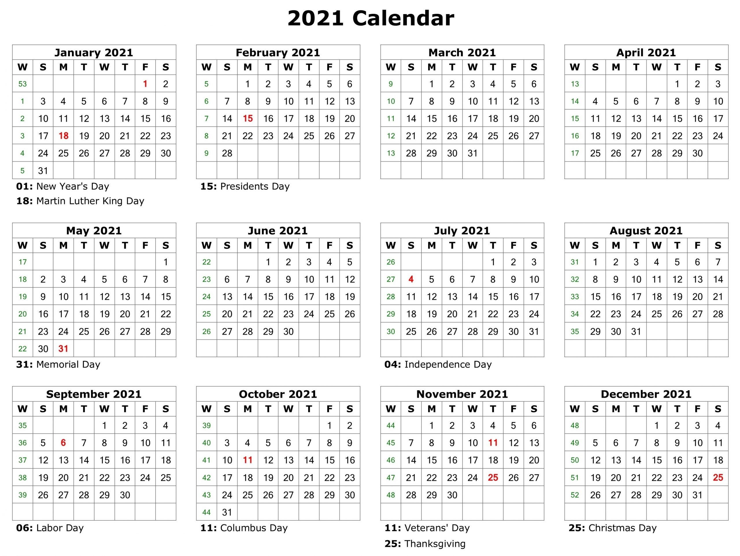 Free 2021 Printable Monthly Calendar With Holidays Word Pdf-Printable 2021 Atteance Calendar