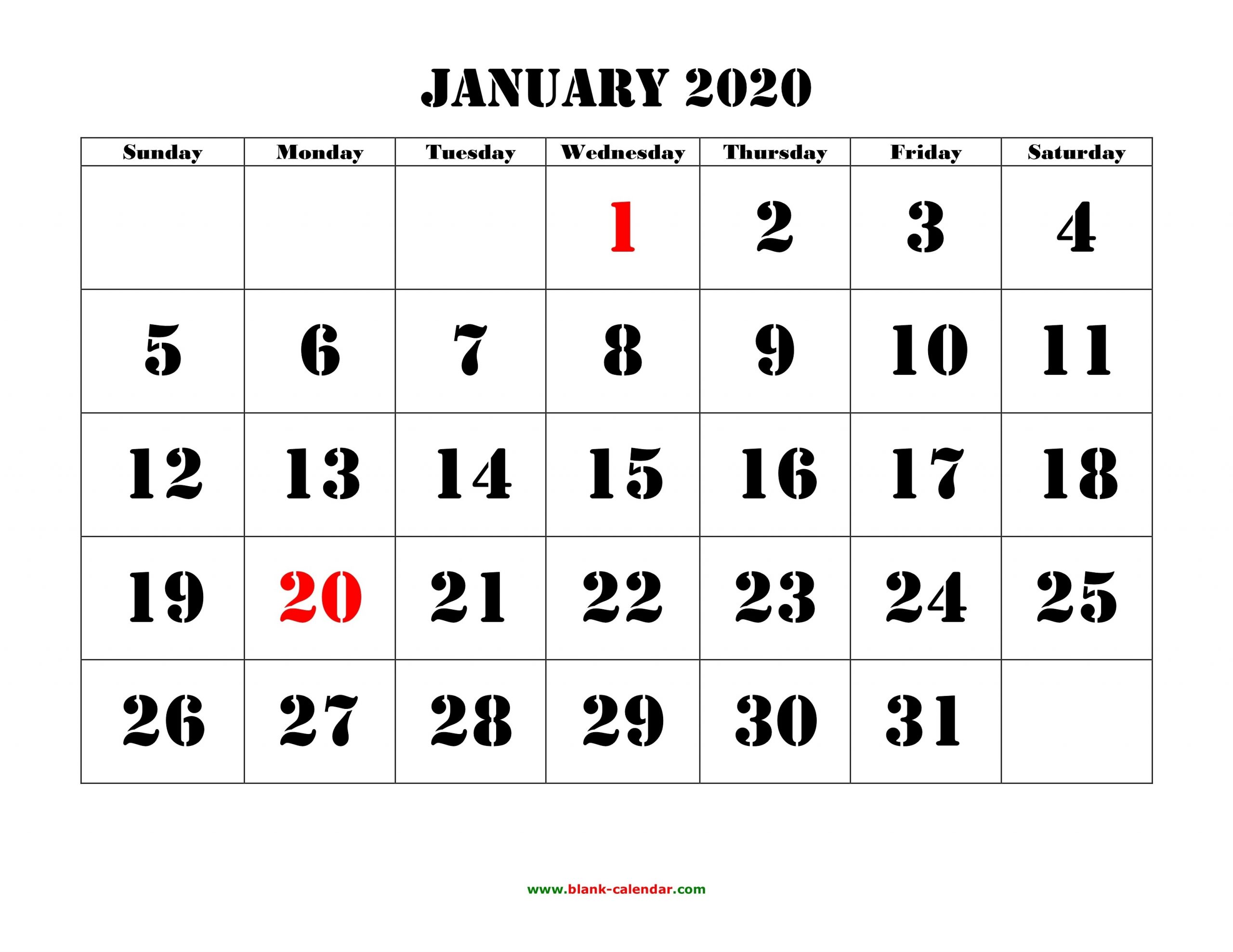 Free Download Printable Calendar 2020, Large Font Design-Printable Calendars Large Numbers