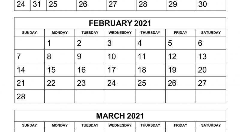 Free Download Printable Calendar 2021, 3 Months Per Page, 4-2021 Three Month Word Calendar Template