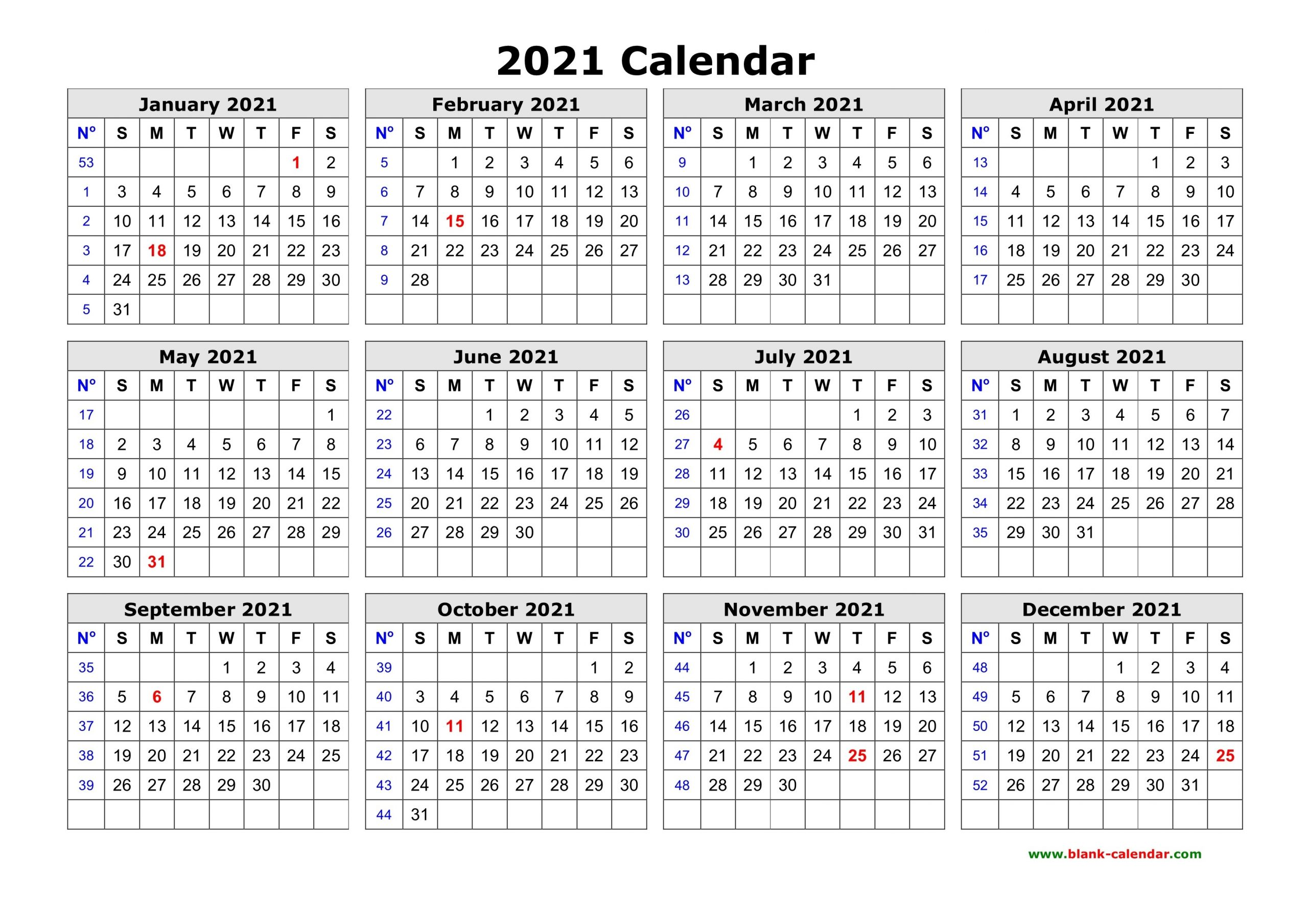 Free Download Printable Calendar 2021 In One Page, Clean Design.-Free Printable Calendar 2021 Without Download