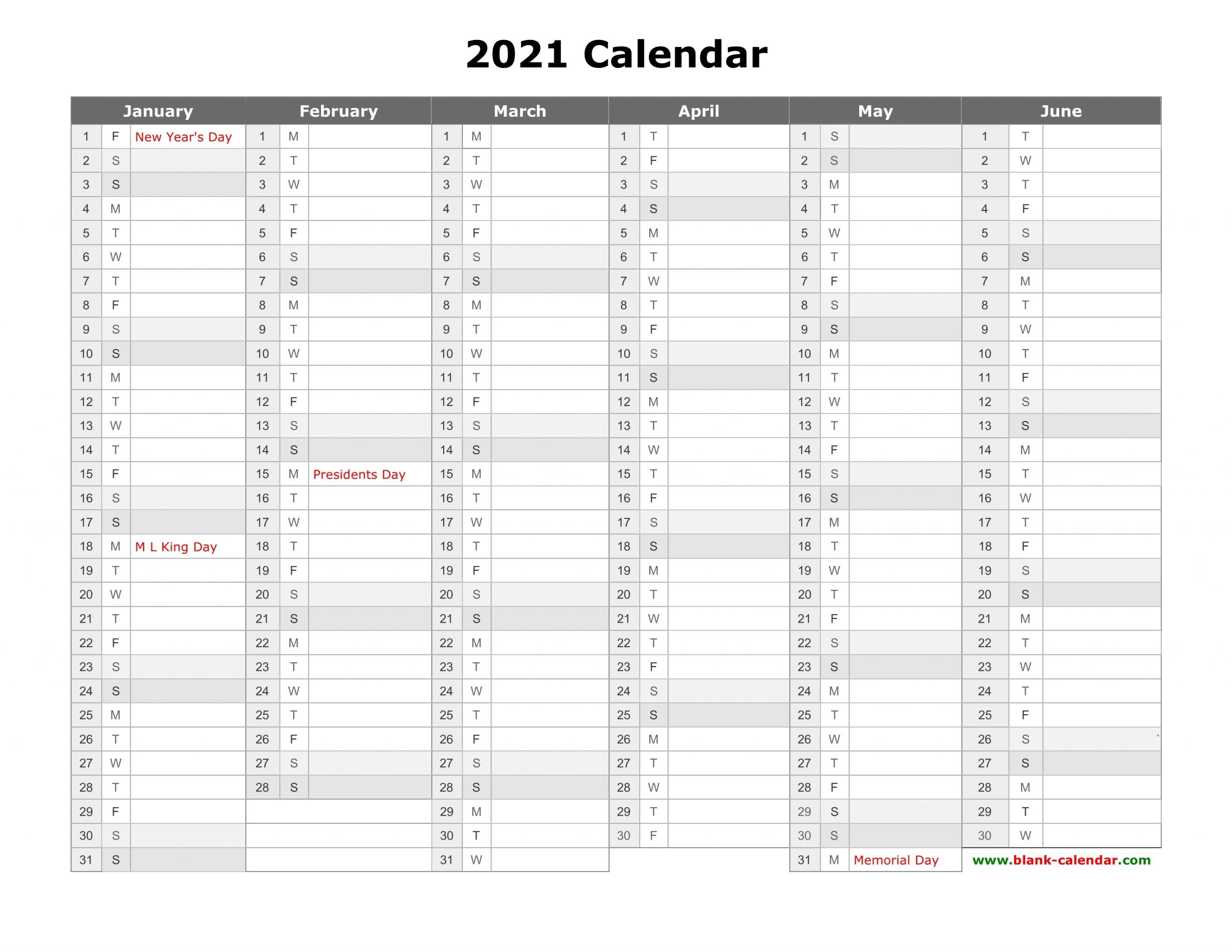 Free Download Printable Calendar 2021, Month In A Column-Calendar 2021 Column Printable