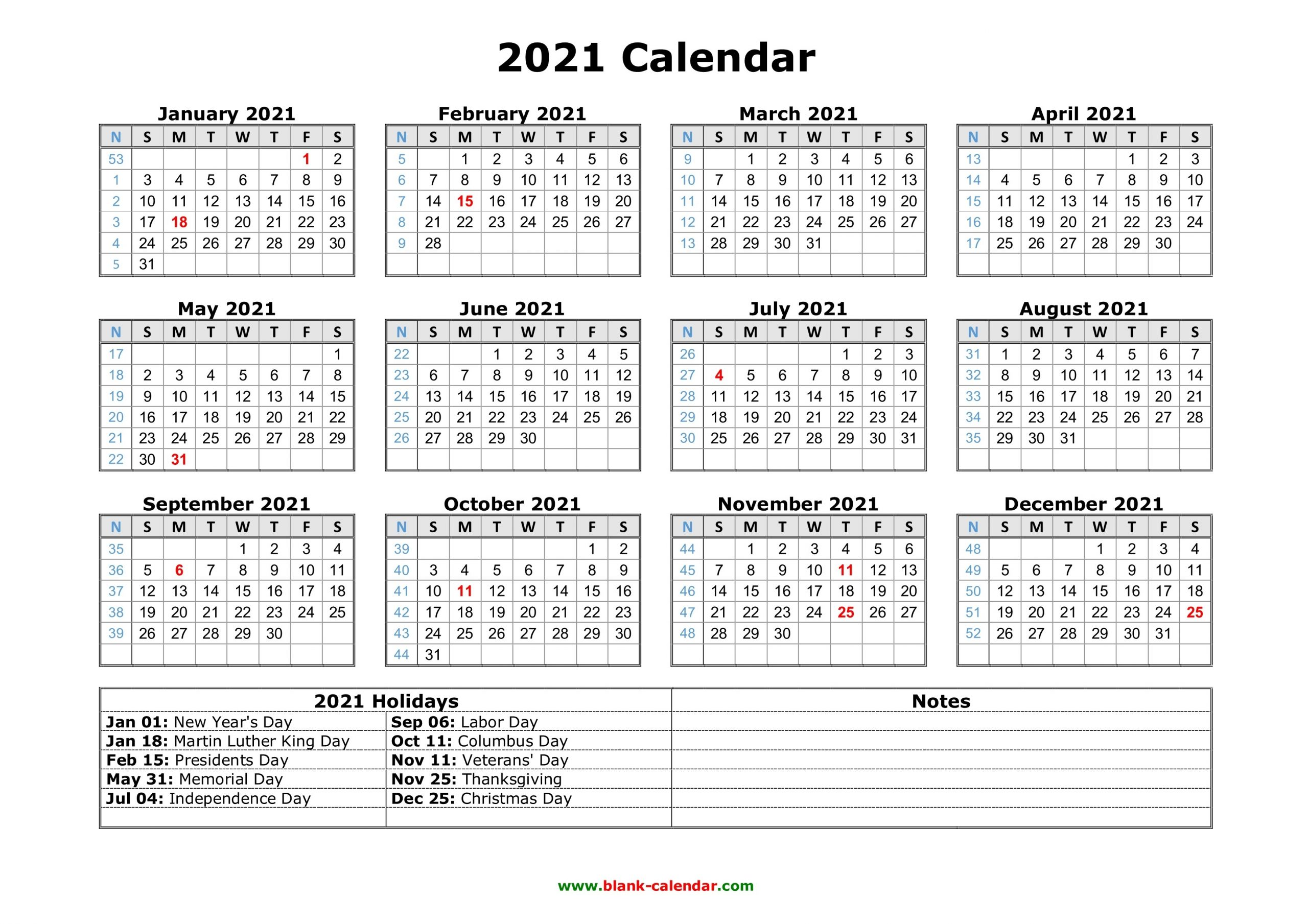 Free Download Printable Calendar 2021 With Us Federal-2021 Vacation Calandar