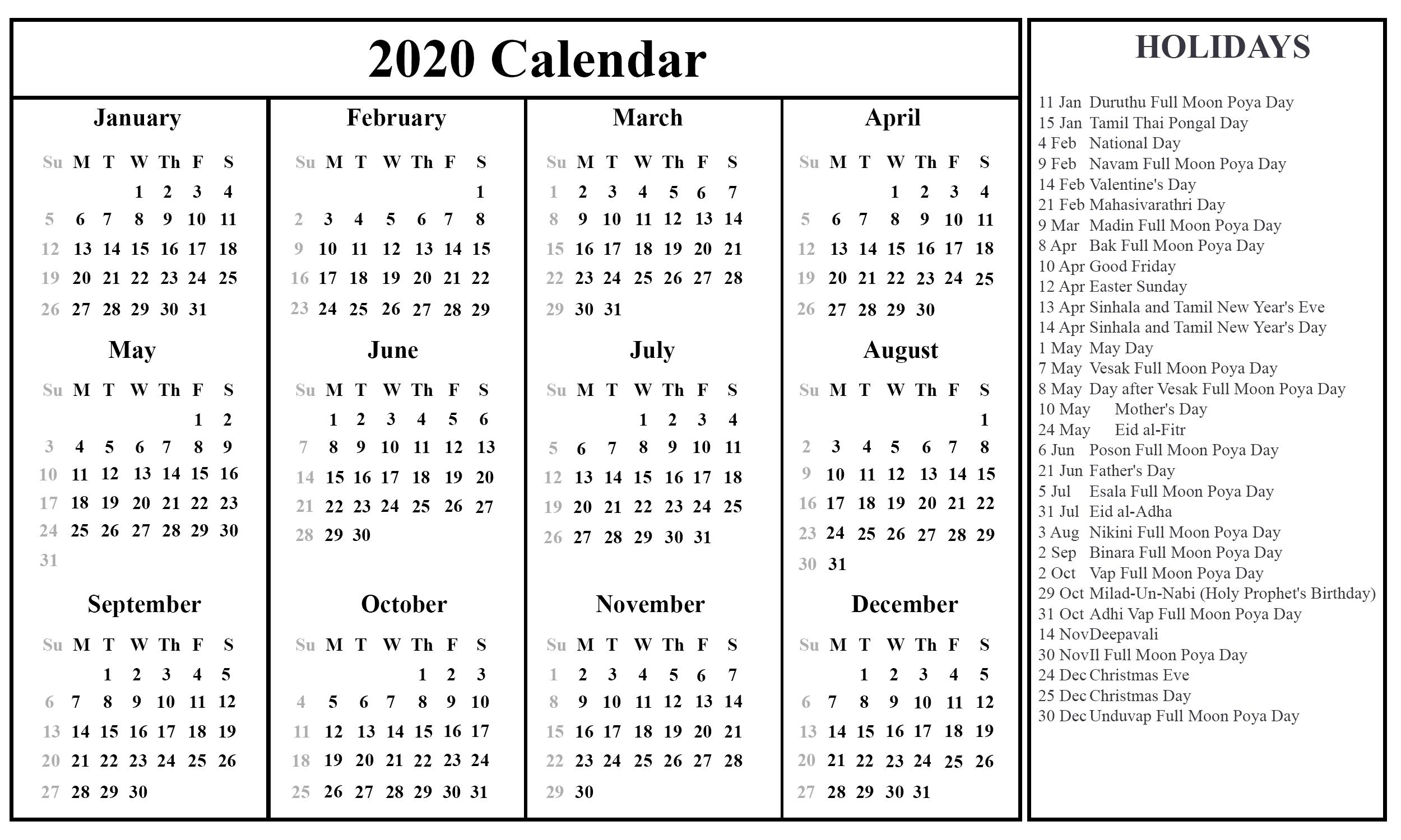 Free Download Sri Lanka Calendar 2020 {Pdf, Excel & Word-Mercantile Holidays Sri Lanka 2021