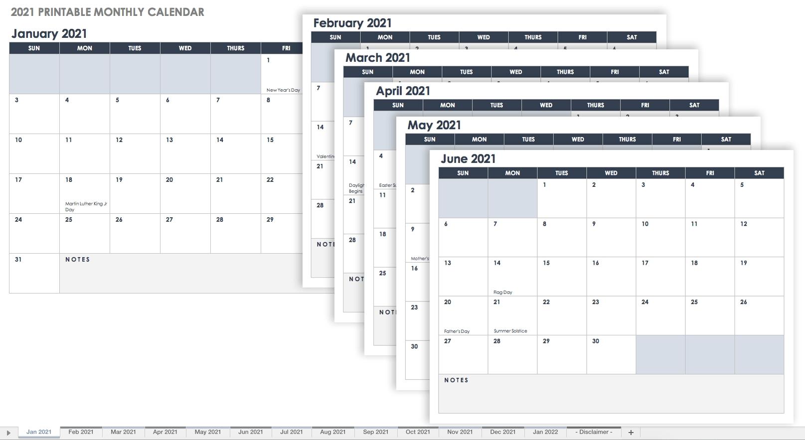 Free Excel Calendar Templates-Excel Vacation Calender 2021