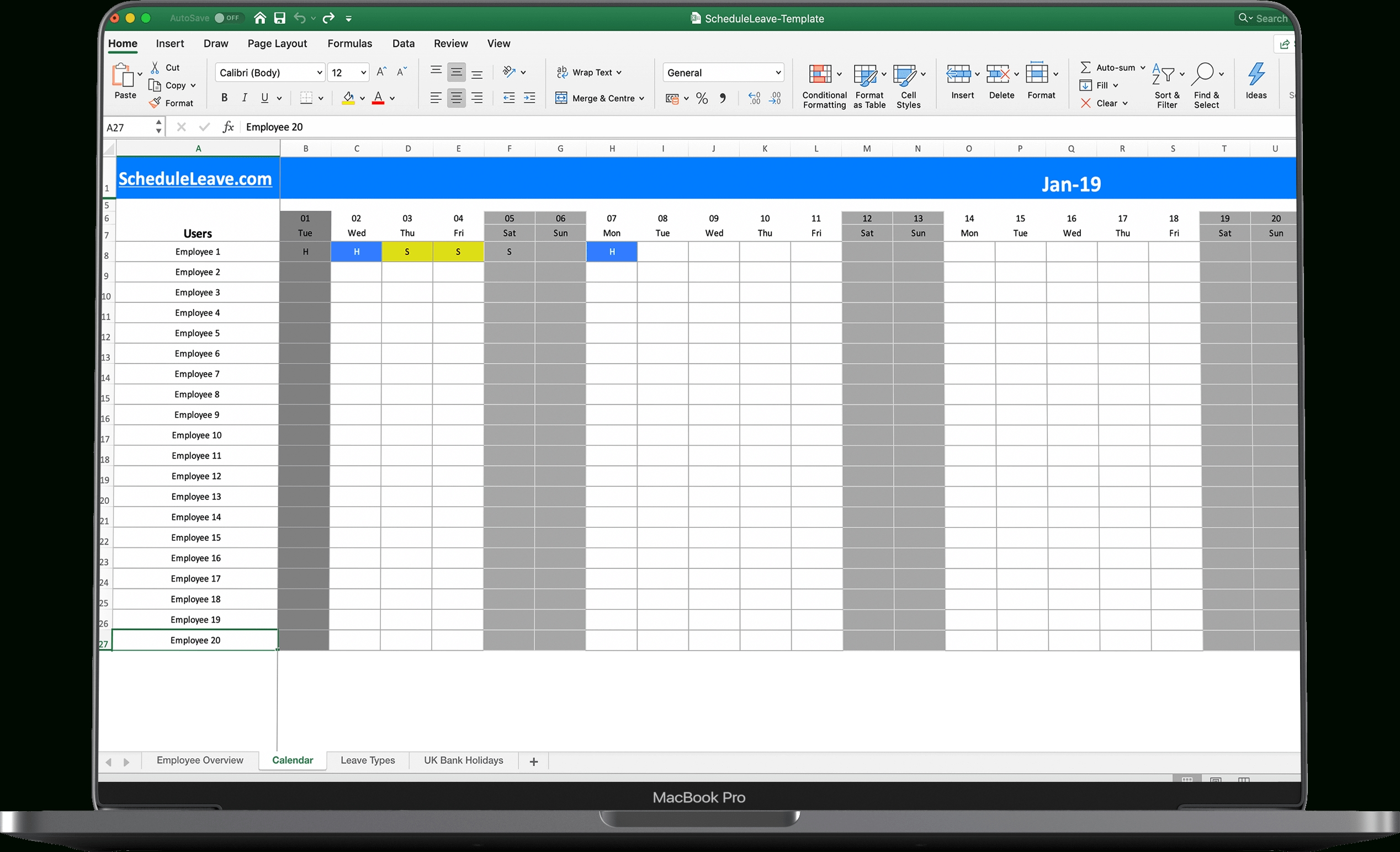 Free Excel Leave Calendar 2021 Spreadsheet Template-Holiday Spreadsheet 2021