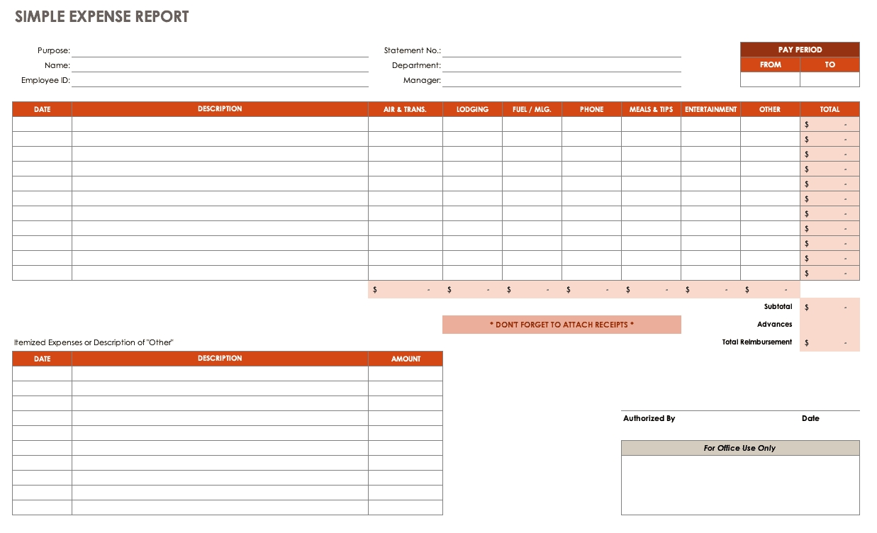 Free Expense Report Templates Smartsheet-Free Printout Tax Desk Card