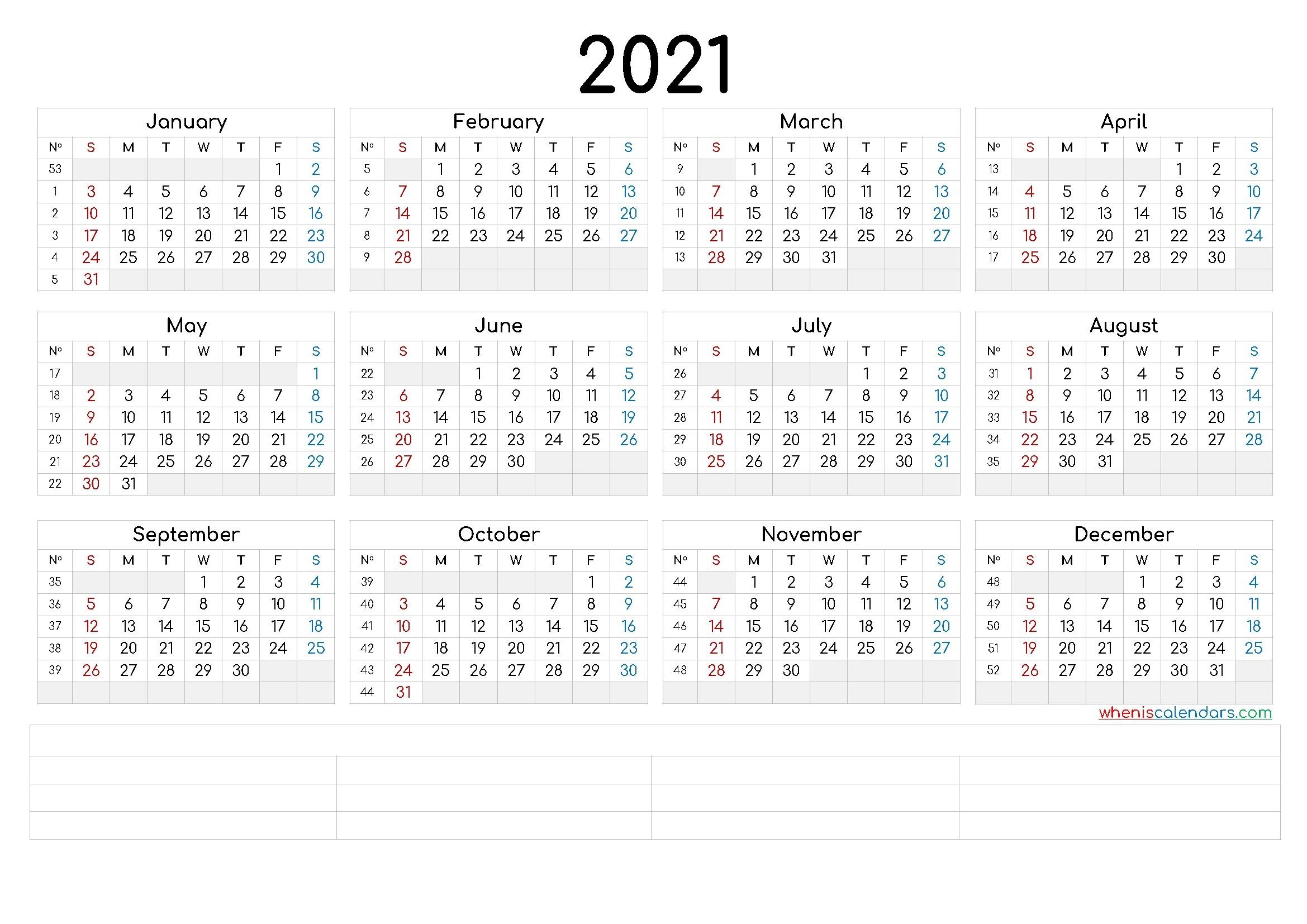Free Printable 2021 Calendar By Year (6 Templates) – Free-4X6 Free Printables 2021 Calendars