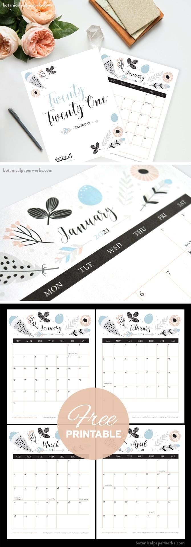 Free Printable 2021 Calendars | Botanical Paperworks-Printable I 9 Form Print 2021