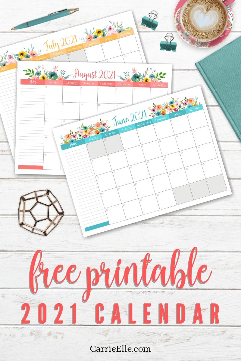 Free Printable 2021 Floral Calendar Via @Carrieelleblog In-Free Printable 2021 Happy Planner