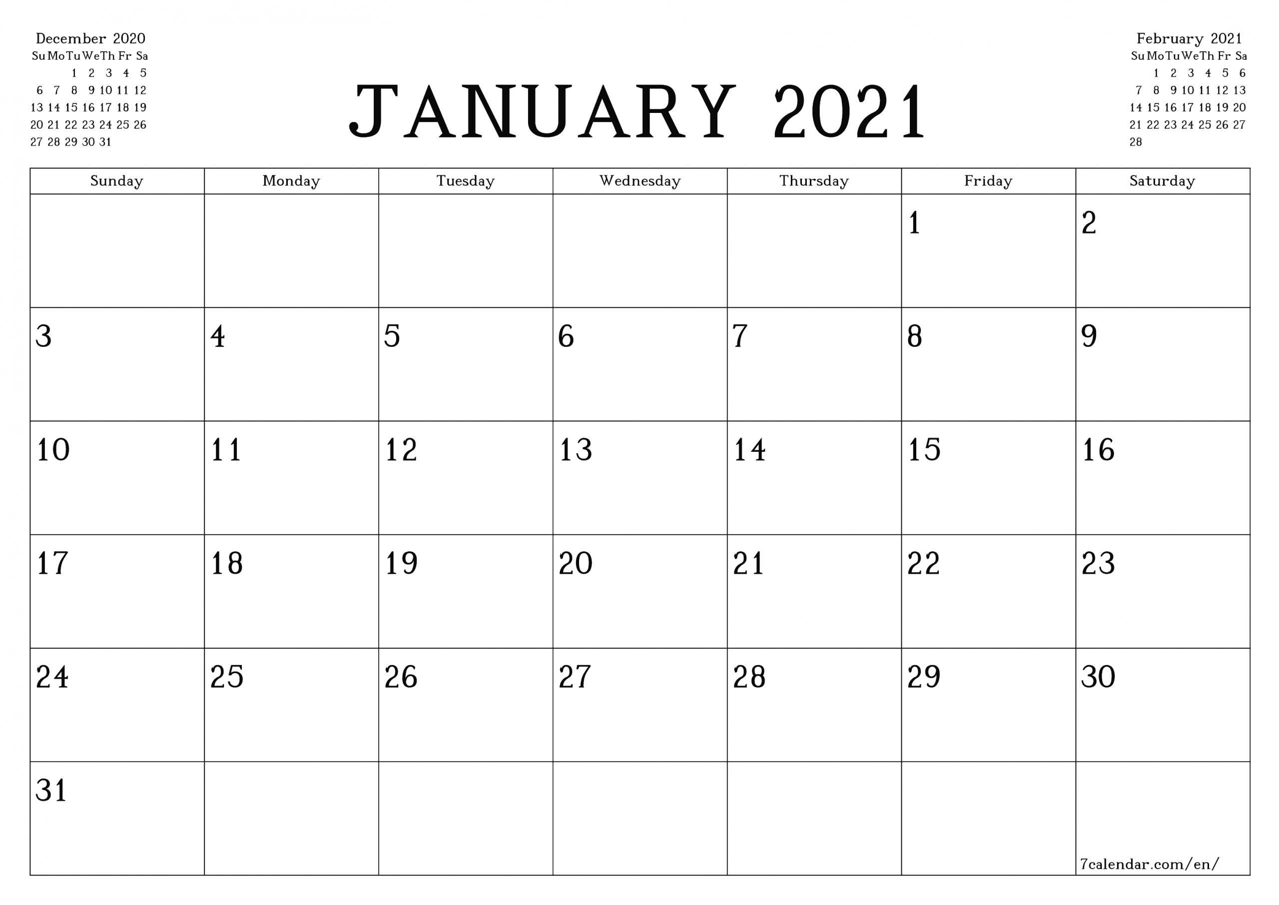 Free Printable Blank Monthly Calendar And Planner For-2021 Monthly Fill In The Blanks Print Out