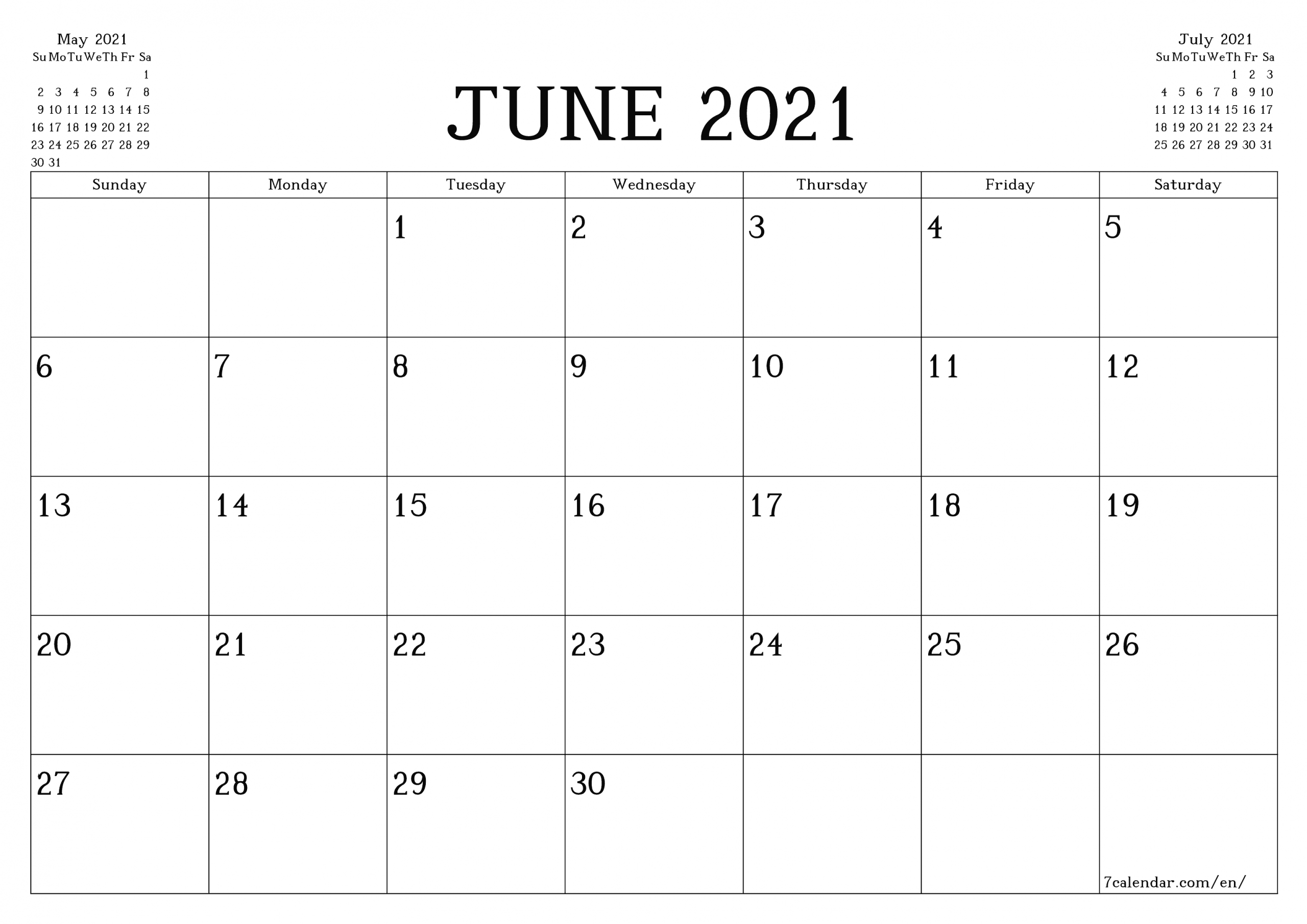Free Printable Blank Monthly Calendar And Planner For June-June 2021 Calendar Legal Print Size