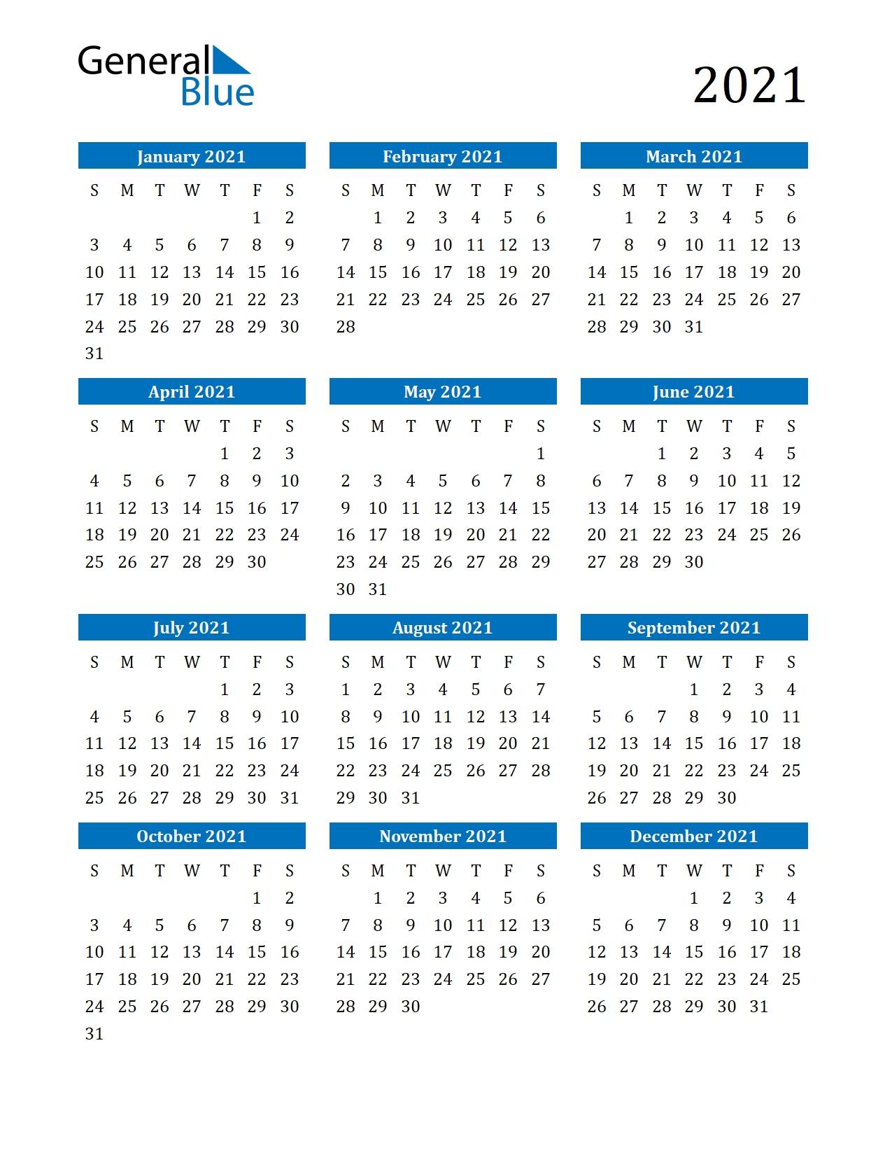Free Printable Calendar In Pdf, Word And Excel-2021 Year Calendar Printable