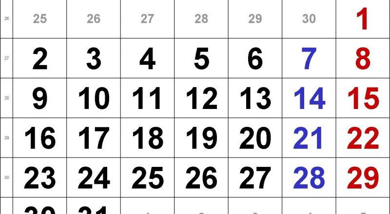 Free Printable Calendar Large Numbers | Printable Calendar-Printable Calendars Large Numbers