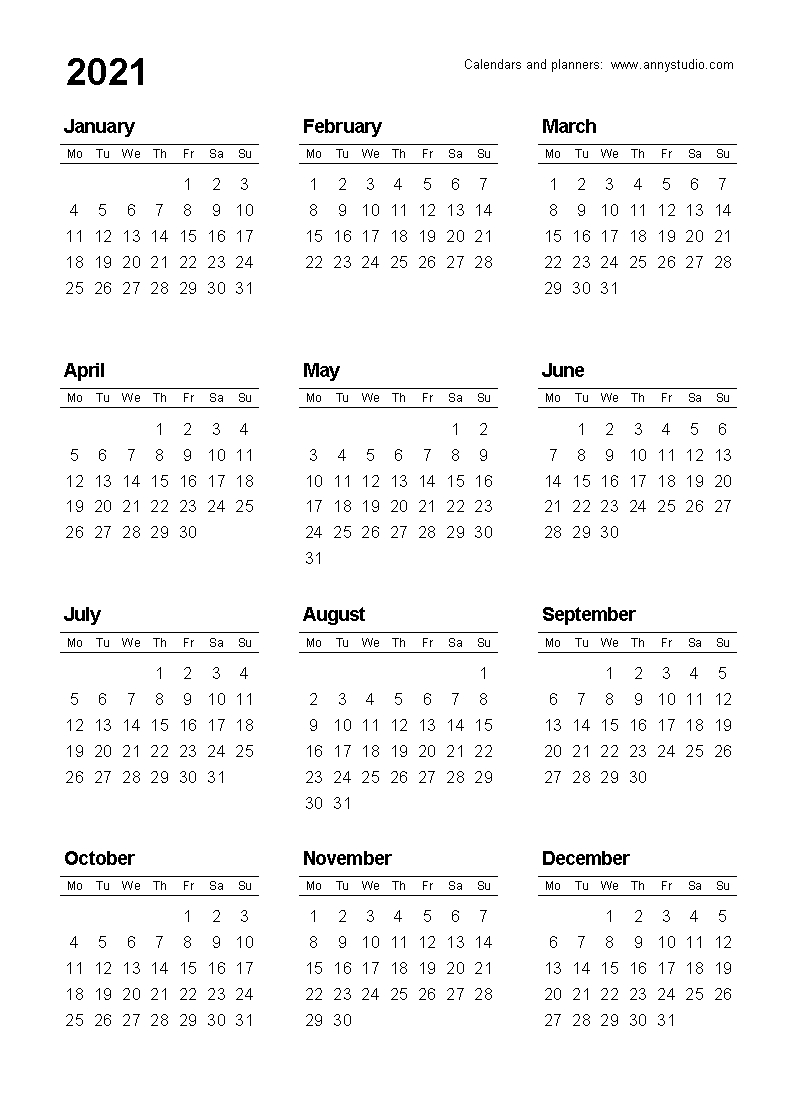Free Printable Calendars And Planners 2021, 2022 And 2023-Online Calendar 2021