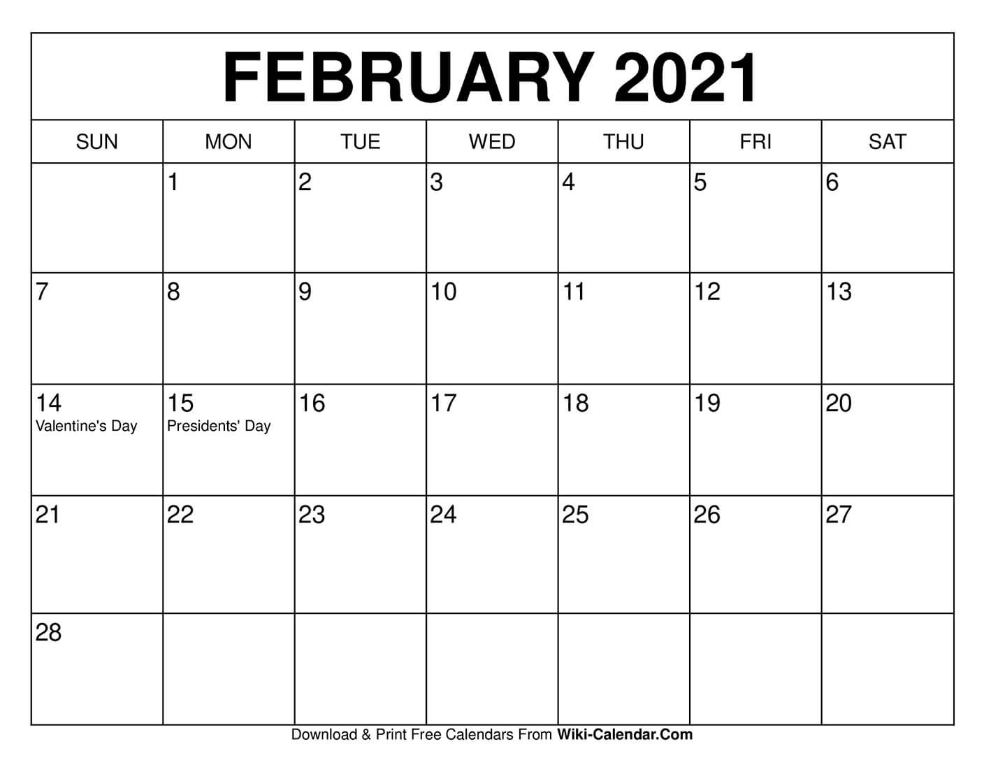 Free Printable February 2021 Calendars-Free Printable Monthly Calendar With Holidays 2021