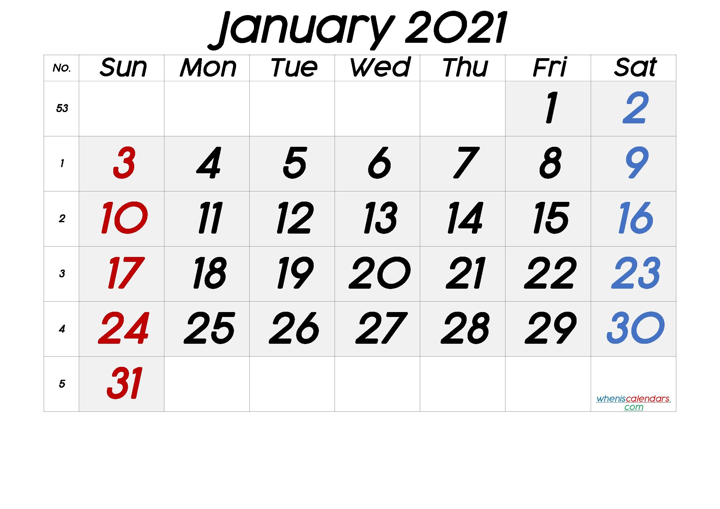 Free Printable January 2021 Calendar-4X6 Free Printables 2021 Calendars