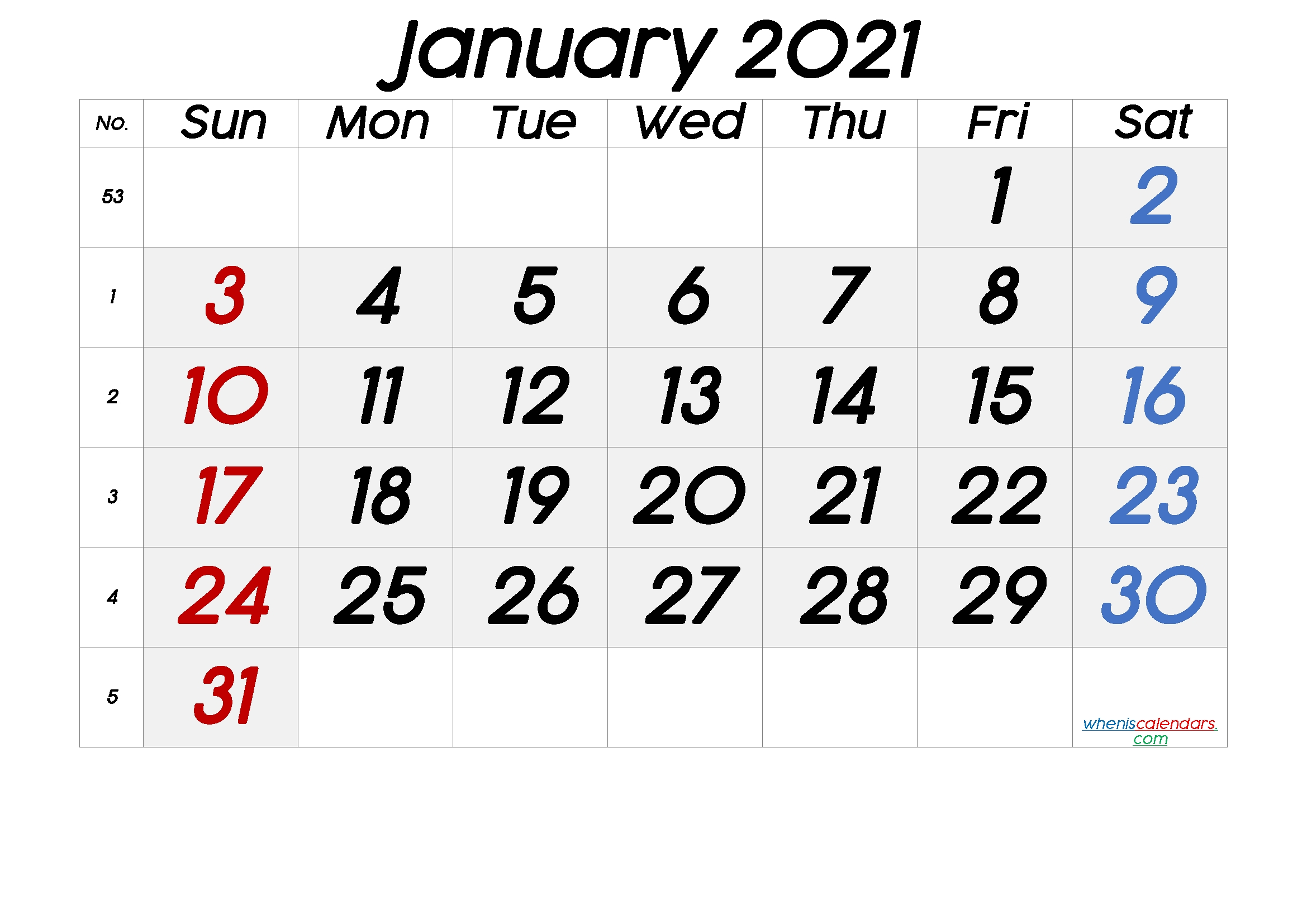 Free Printable January 2021 Calendar-4X6 Printable Calendar 2021 Free