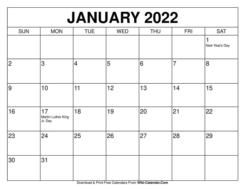 Free Printable January 2021 Calendars-Free Blank No Date Printable Calendar 2021