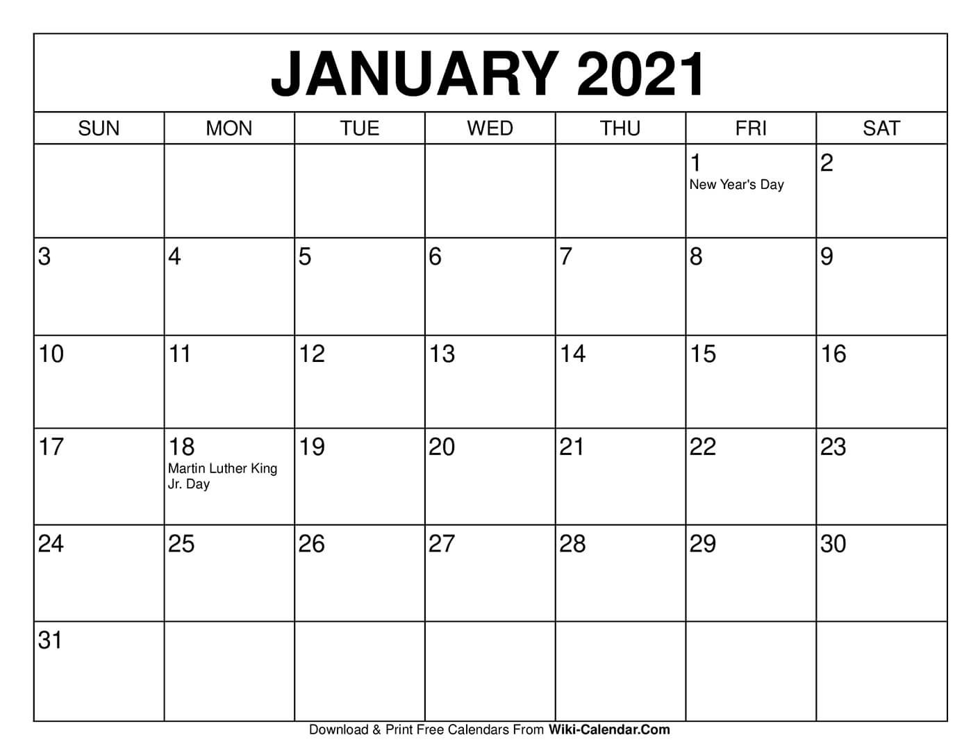 Free Printable January 2021 Calendars-Free Printable Calendar 2021 Without Download