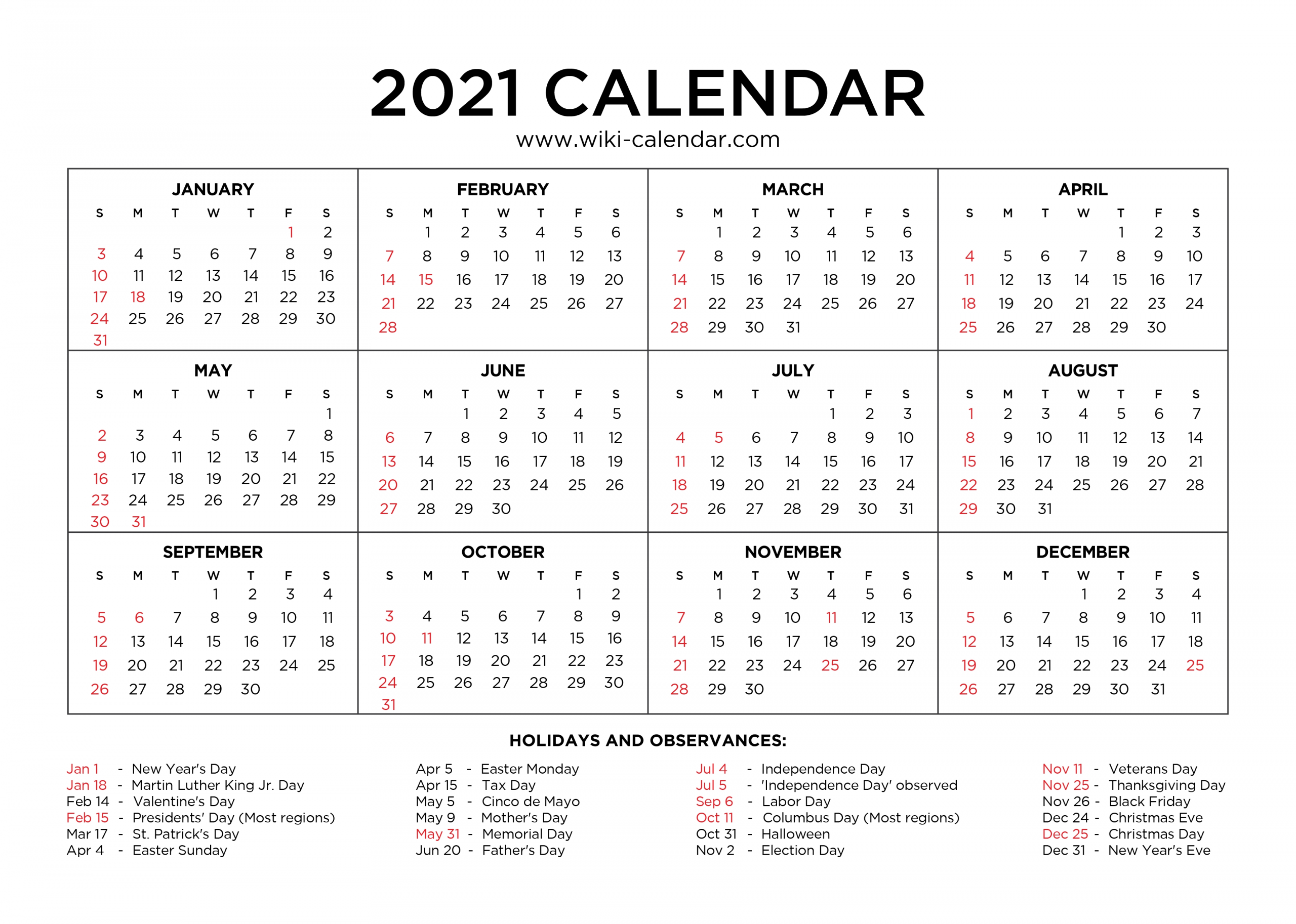Free Printable Year 2021 Calendar With Holidays-2021 Calendar Printable