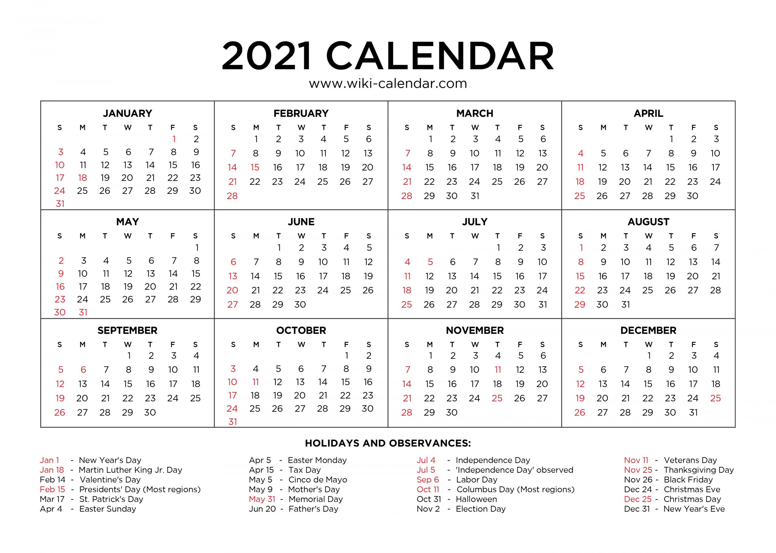 Free Printable Year 2021 Calendar With Holidays-Free Printable Calendar 2021 Without Download