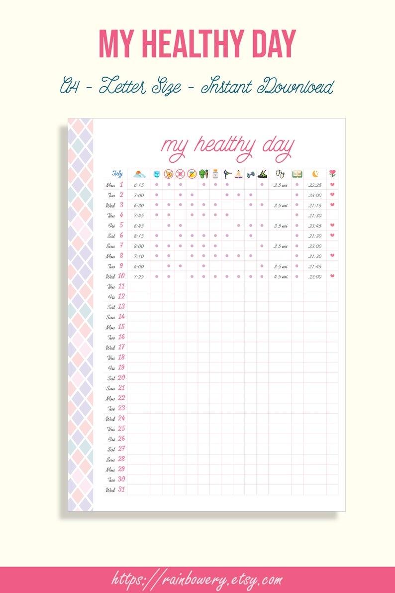 Habit Tracker Healthy Habit Tracker Printable Template-Monthly Wellness 2021
