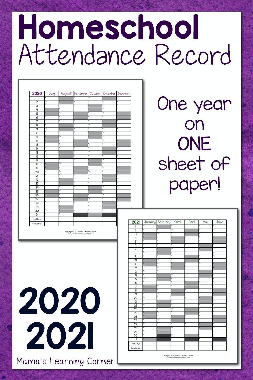 Homeschool Attendance Record 2020-2021 | Homeschool-Attendance Sheet Template For 2021
