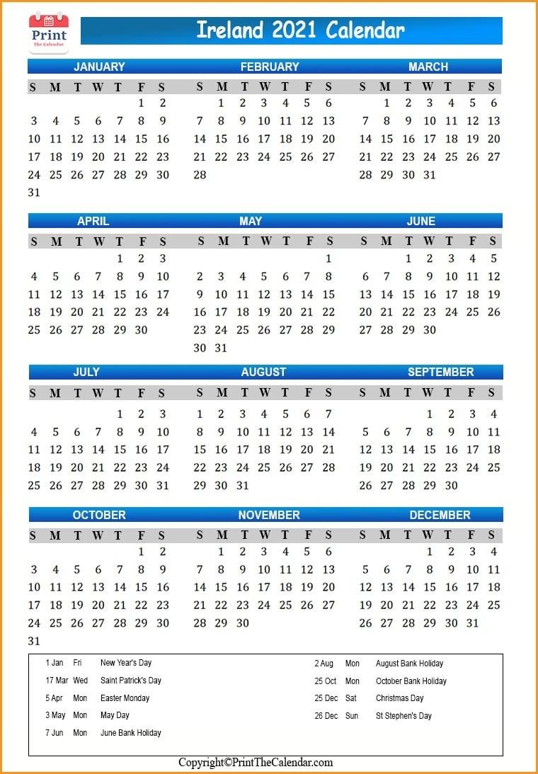 Ireland Holidays 2021 [2021 Calendar With Ireland Holidays]-Bank Holidays Calendar 2021