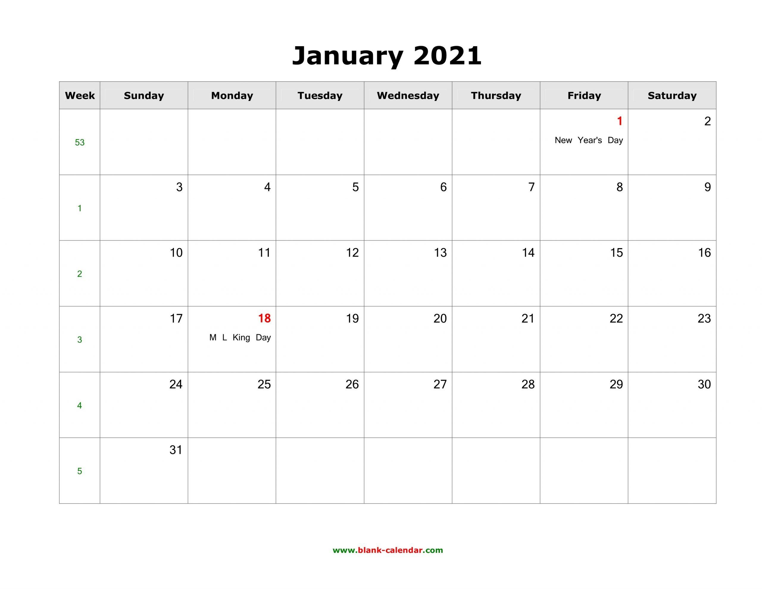 January 2021 Blank Calendar   Free Download Calendar Templates-Fill In Blank Calendar 2021