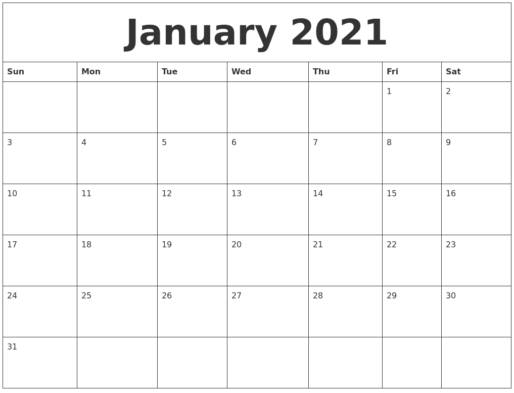 January 2021 Calendar, February 2021 Printable Calendar-Sundat To Saturday Printable Monthly Blank Calendar