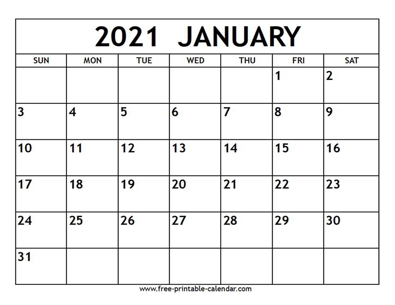 January 2021 Calendar - Free-Printable-Calendar-2021 Calendar Printable