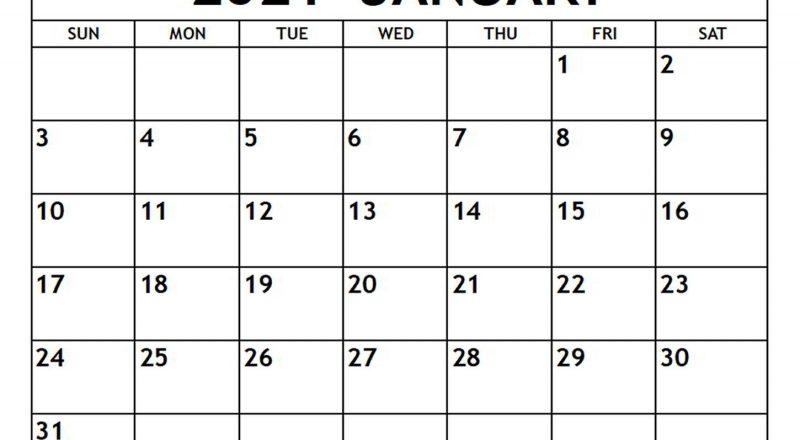 January 2021 Calendar - Free-Printable-Calendar-Printable Calendar 2021