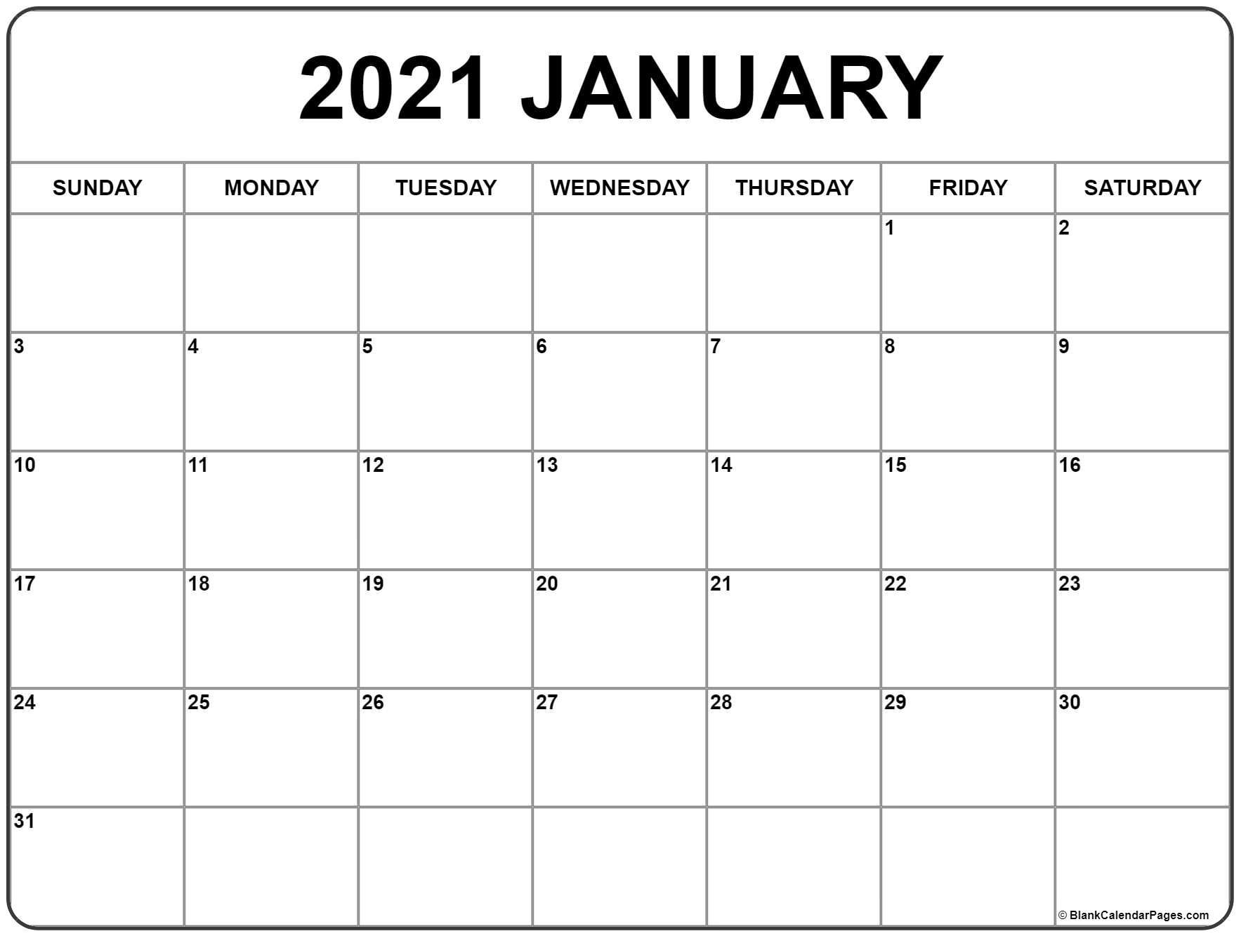 January 2021 Calendar | Free Printable Monthly Calendars-2021 Calendar Printable