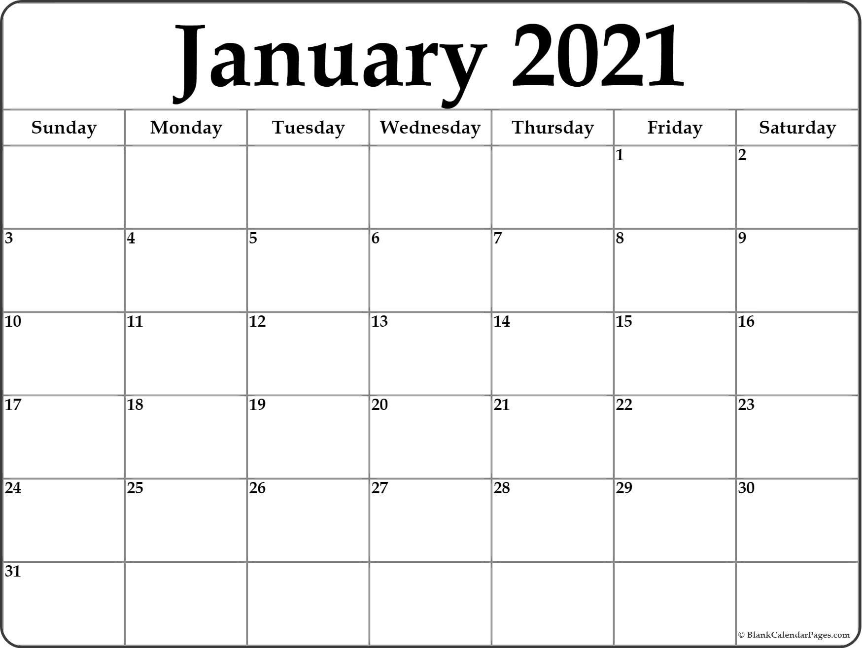 January 2021 Calendar | Free Printable Monthly Calendars-Free Printable Blank Monthly Calendar Year 2021