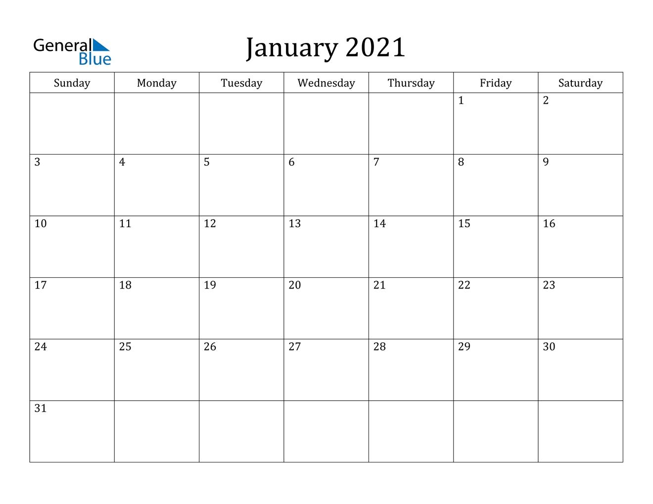 January 2021 Calendar - Pdf Word Excel-Microsoft Printable Calendars 2021