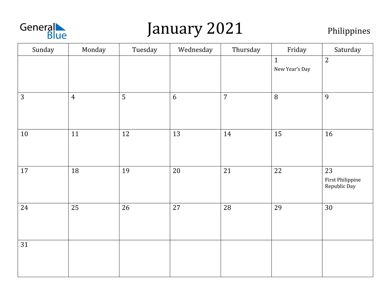 January 2021 Calendar - Philippines-Print Philippine 2021 Calendars With Holiday