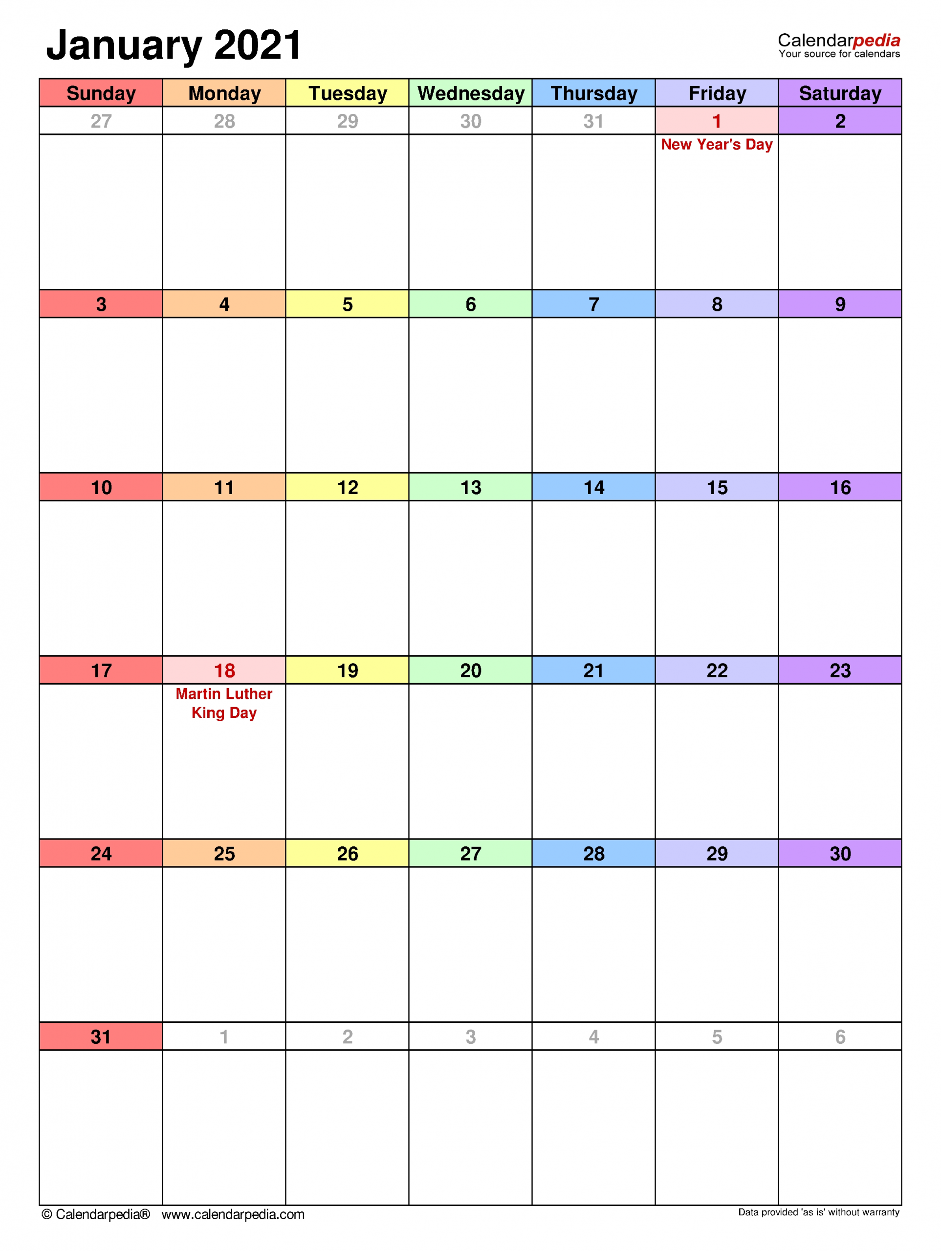 January 2021 Calendar | Templates For Word, Excel And Pdf-2021 Three Month Word Calendar Template