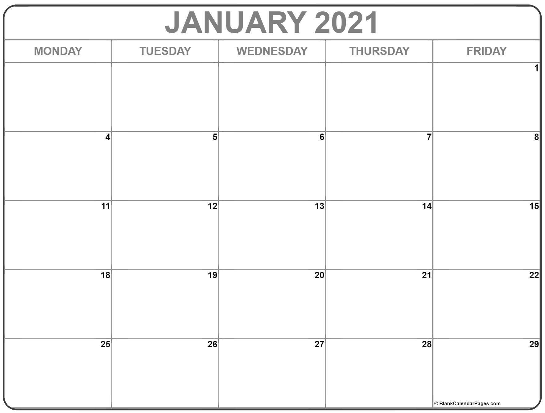 January 2021 Monday Calendar | Monday To Sunday-2021 Calendar That Shows Only Monday Through Friday