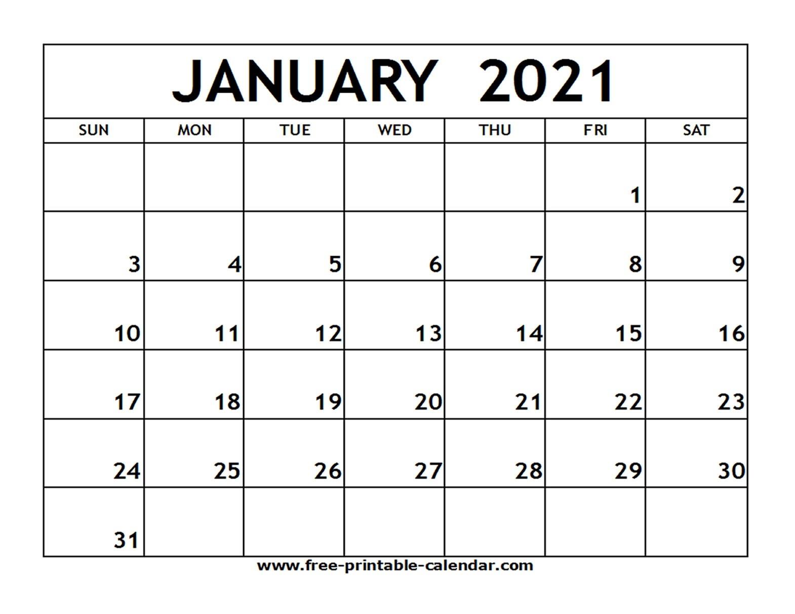 January 2021 Printable Calendar - Free-Printable-Calendar-Fill In Blank Calendar 2021