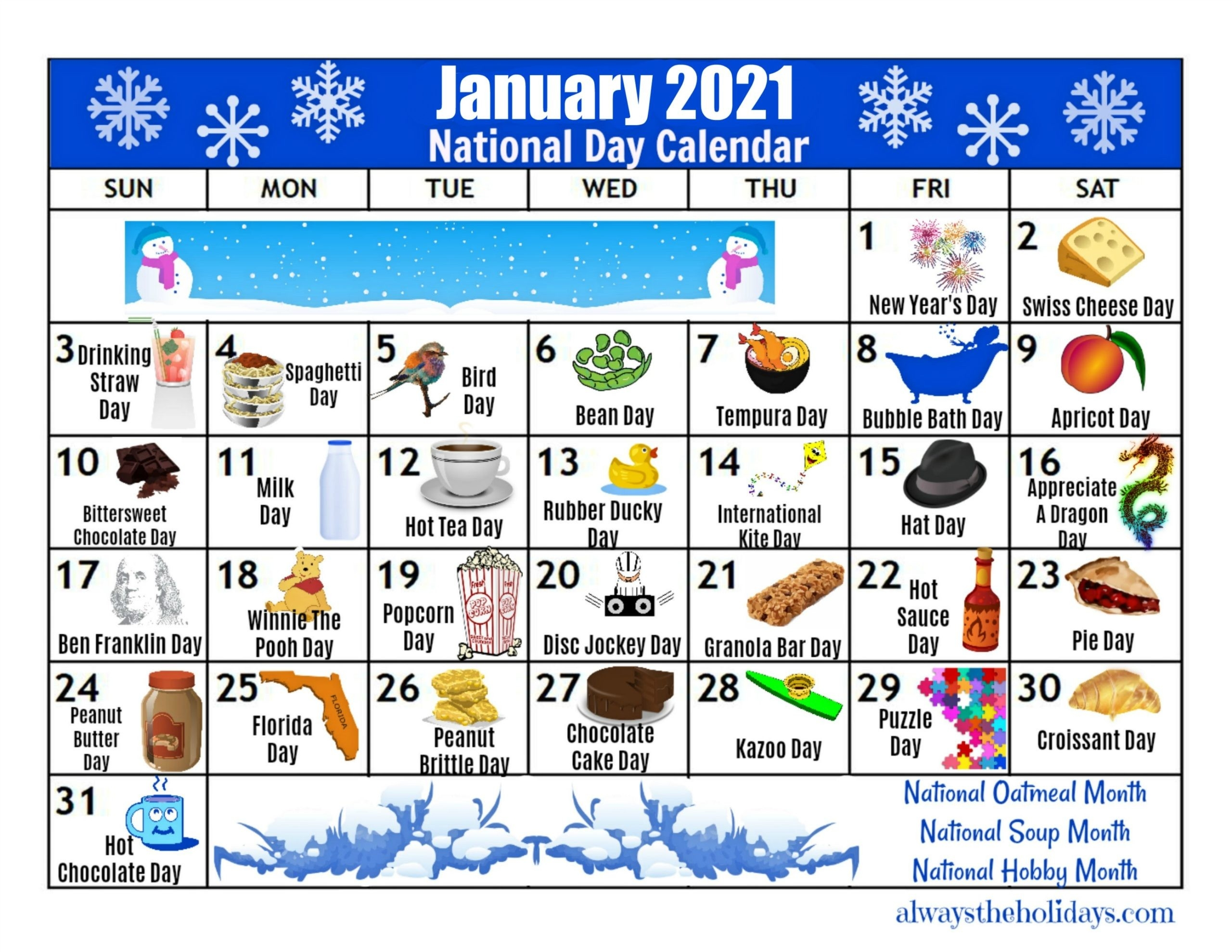 January Printable National Day Calendar 2021 - Free Planning-Fun National Day Calendar Of 2021 Printable