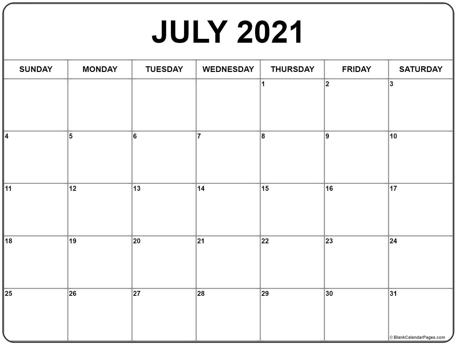 July 2021 Calendar | Free Printable Monthly Calendars-Free Blank No Date Printable Calendar 2021