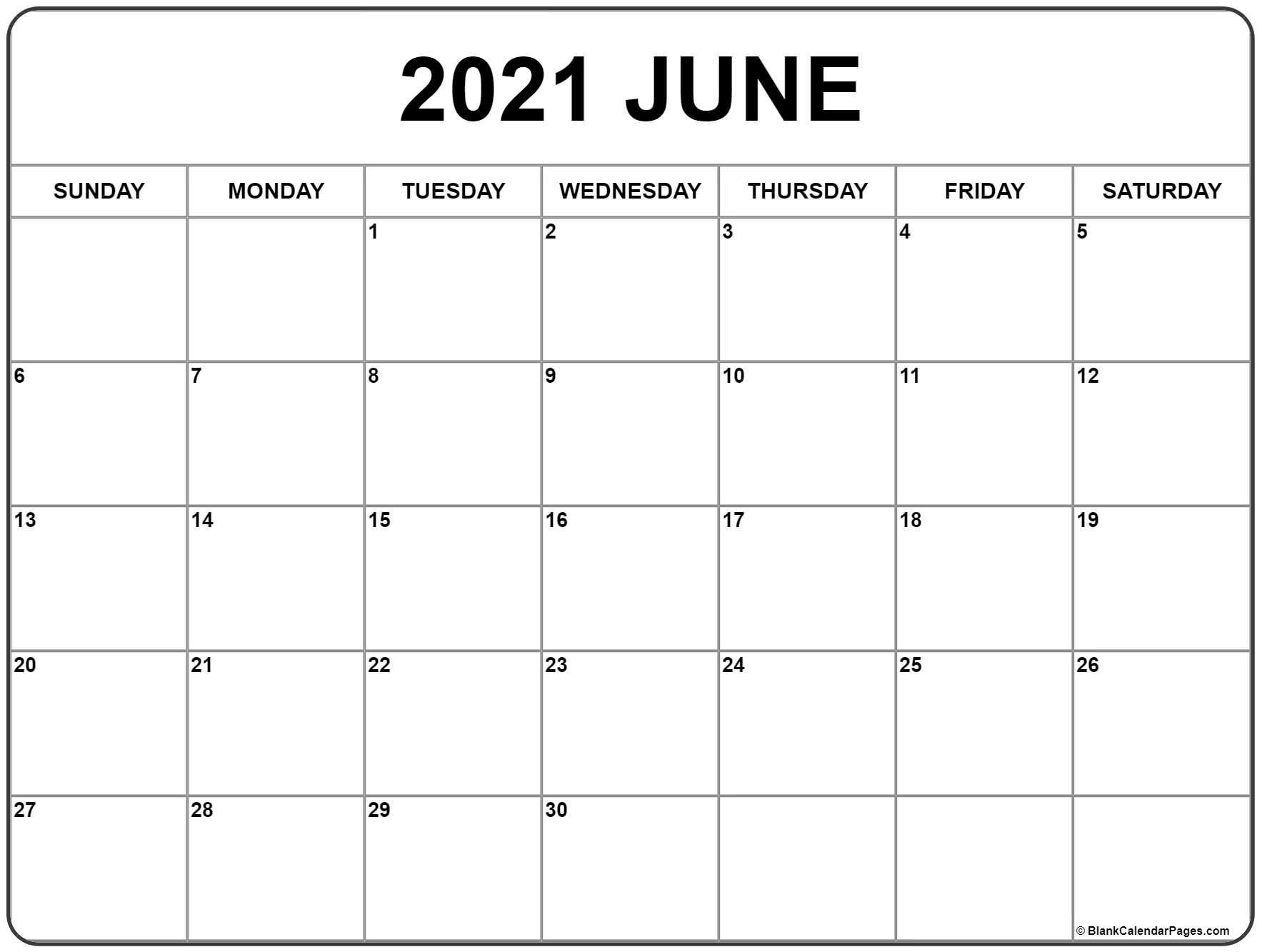 June 2021 Calendar   Free Printable Monthly Calendars-Free Printable Blank Monthly Calendar Year 2021