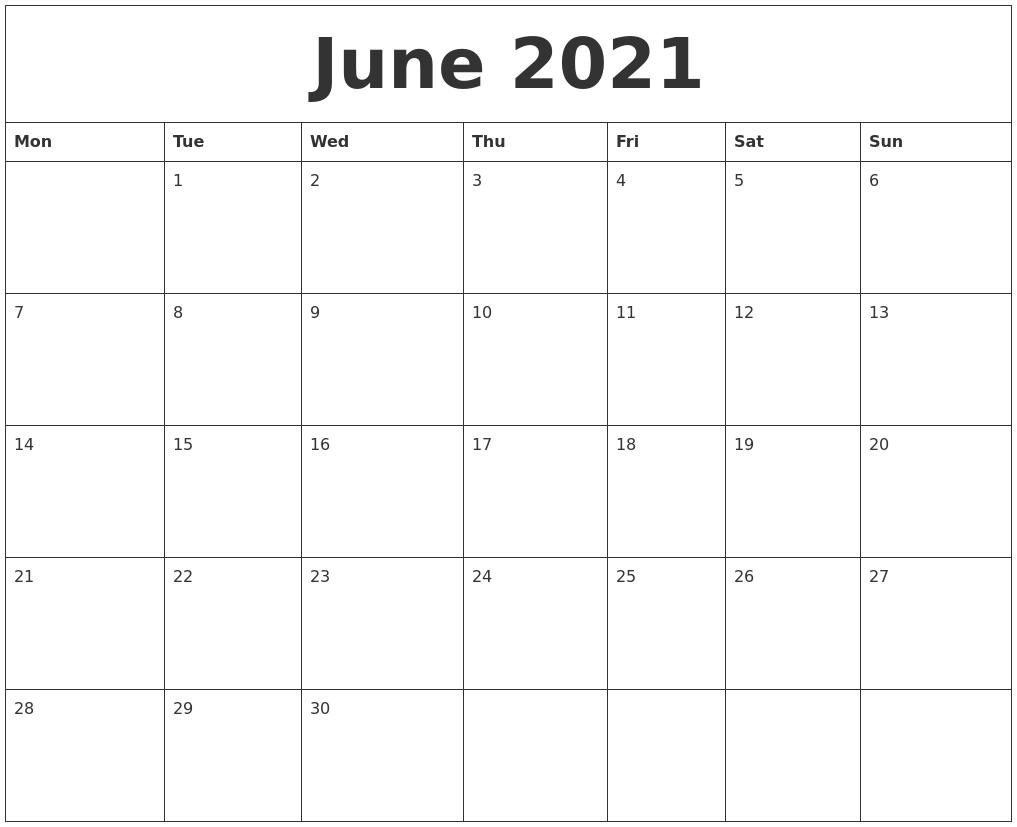 June 2021 Calendar Word Doc | Calendar Template Printable
