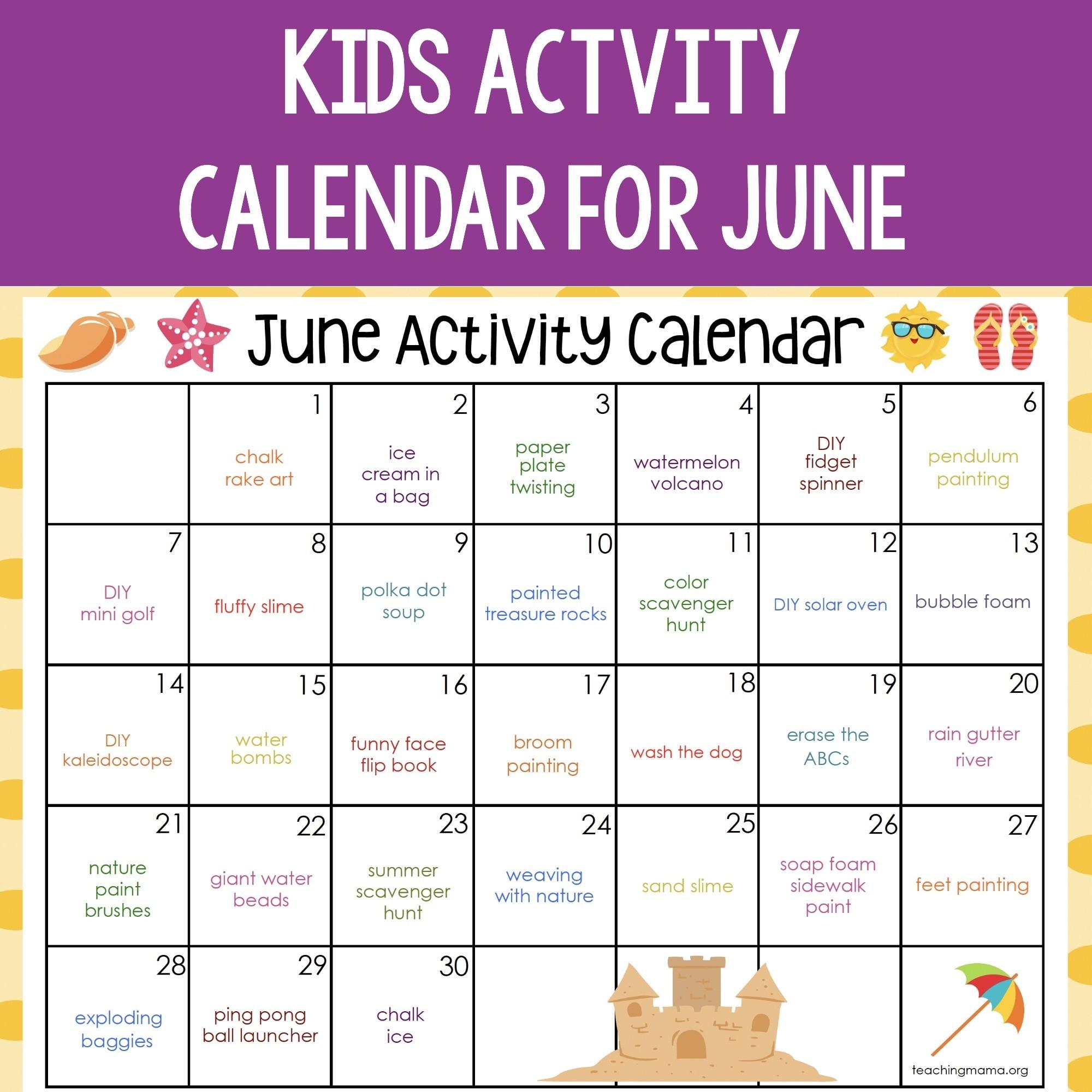 June Activity Calendar-2021 Activity Calendar Printable