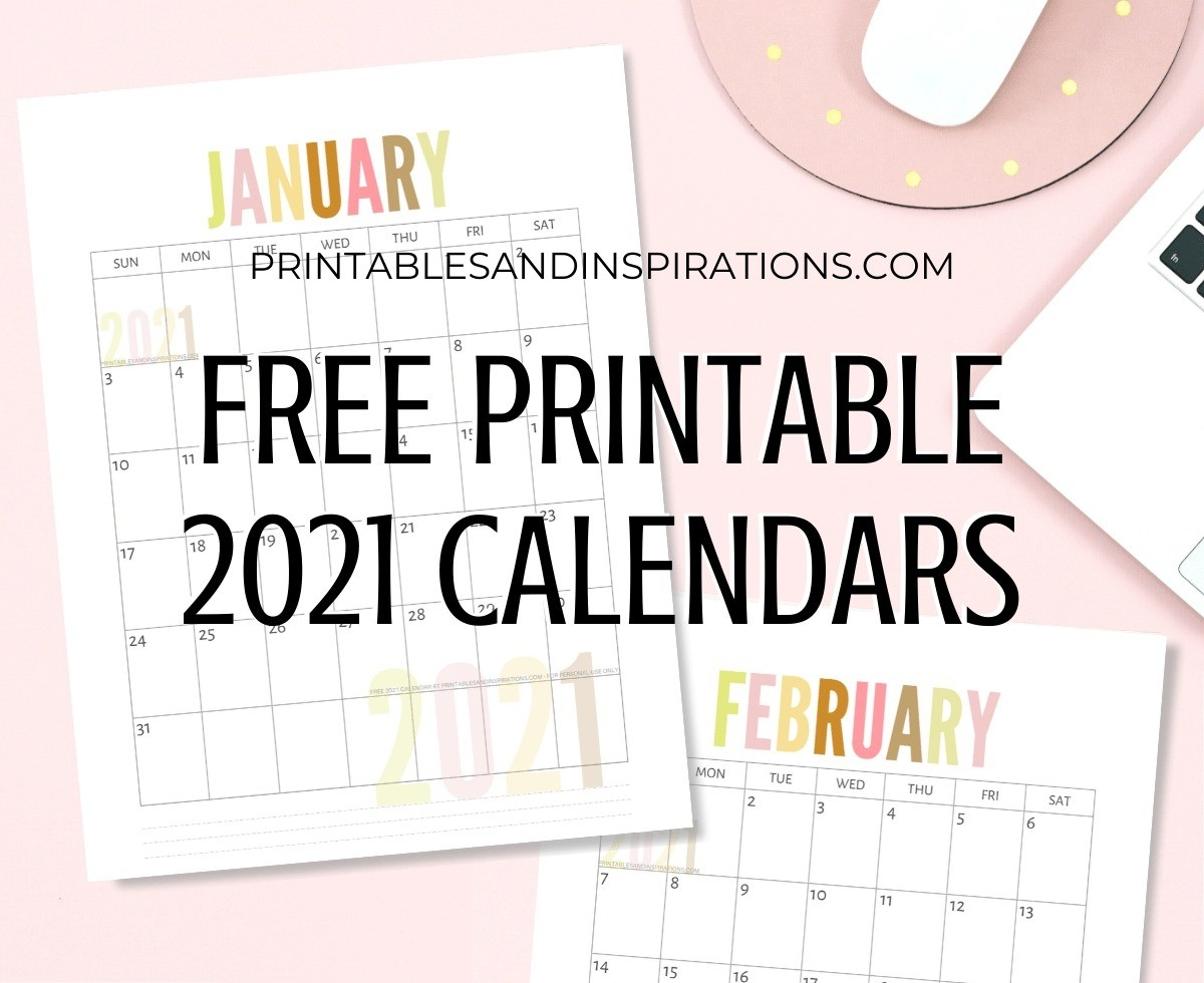 List Of Free Printable 2021 Calendar Pdf - Printables And-Free Printable Calendar 2021 Without Download