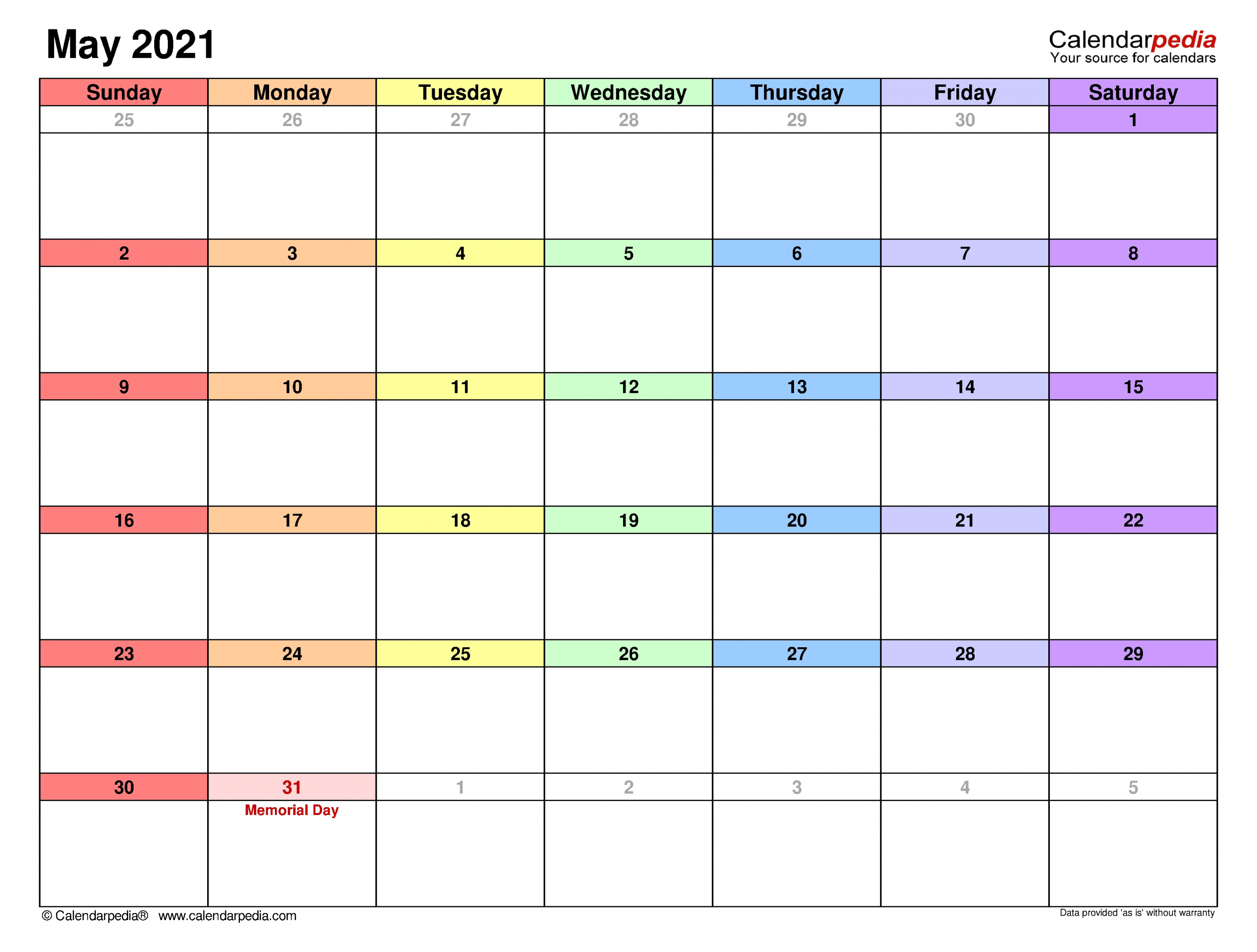 May 2021 Calendar | Templates For Word, Excel And Pdf-2021 2 Page Per Month May Calendar Picture